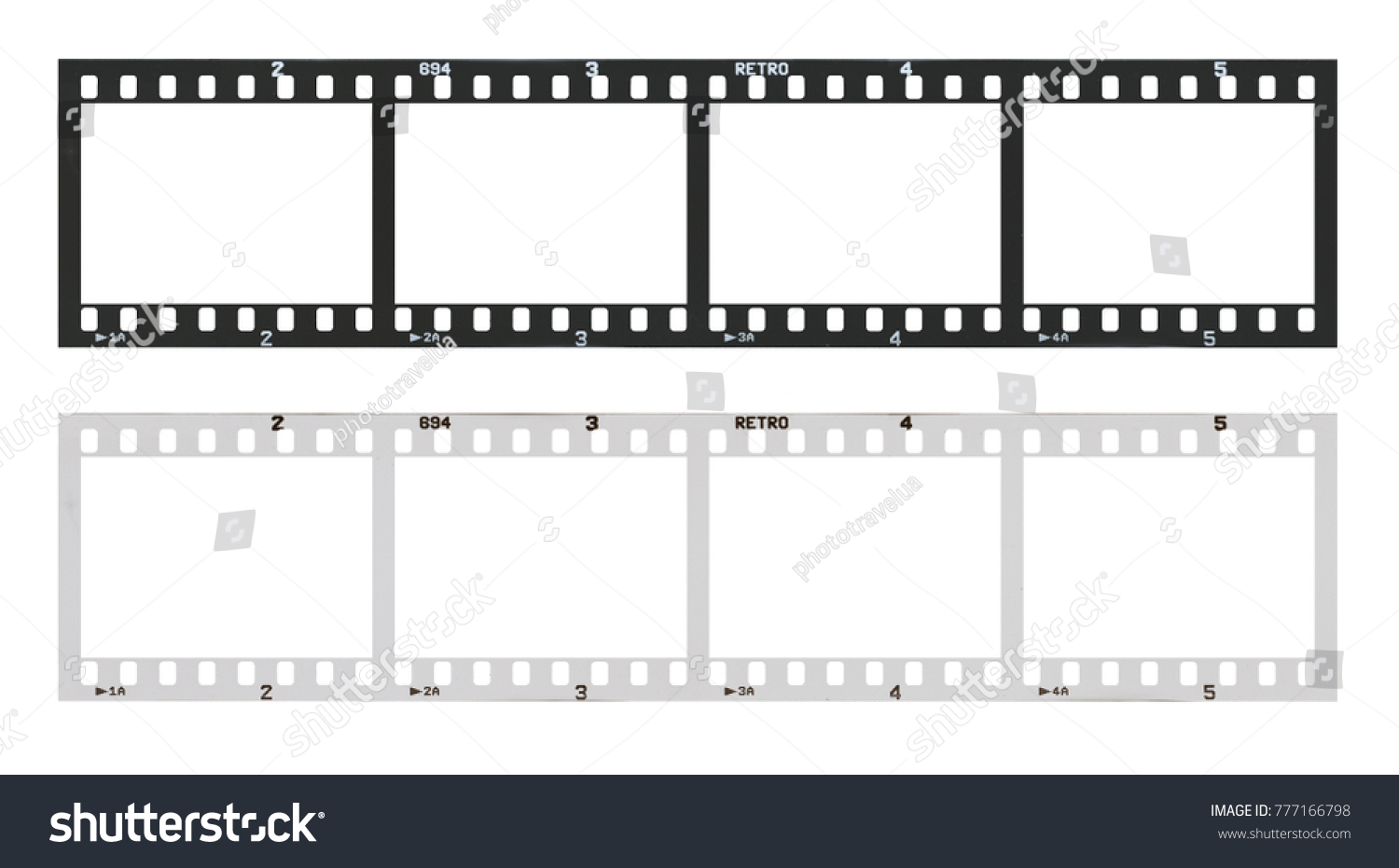 Film strip template with frames, empty developed black and white 135 type (35mm) in negative and positive isolated on white background with work path. #777166798