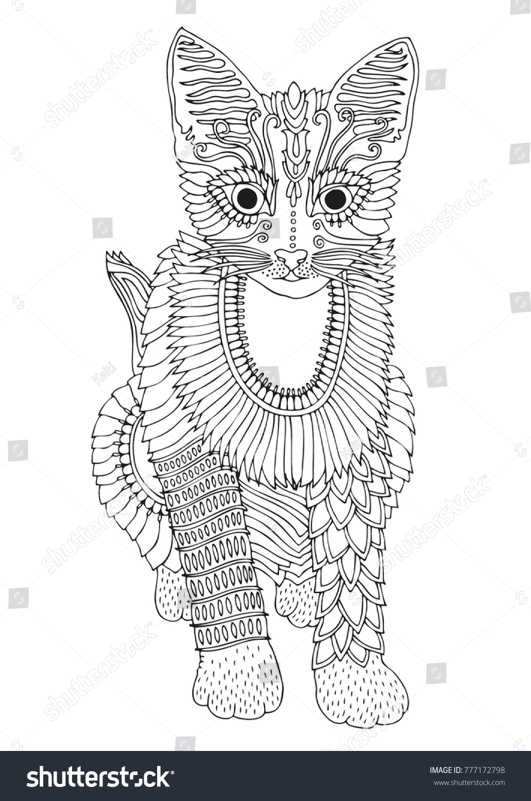Sitting Cat Egyptian Style Hand Drawn Stock Vector 777172798 ...