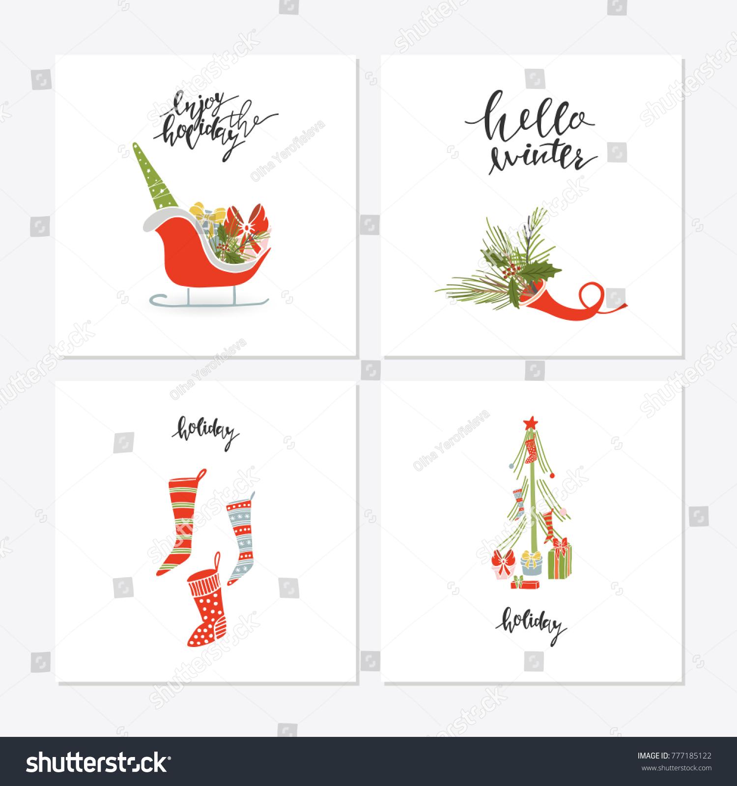 Greeting Card Christmas Toys Christmas Phrases Stock Vector
