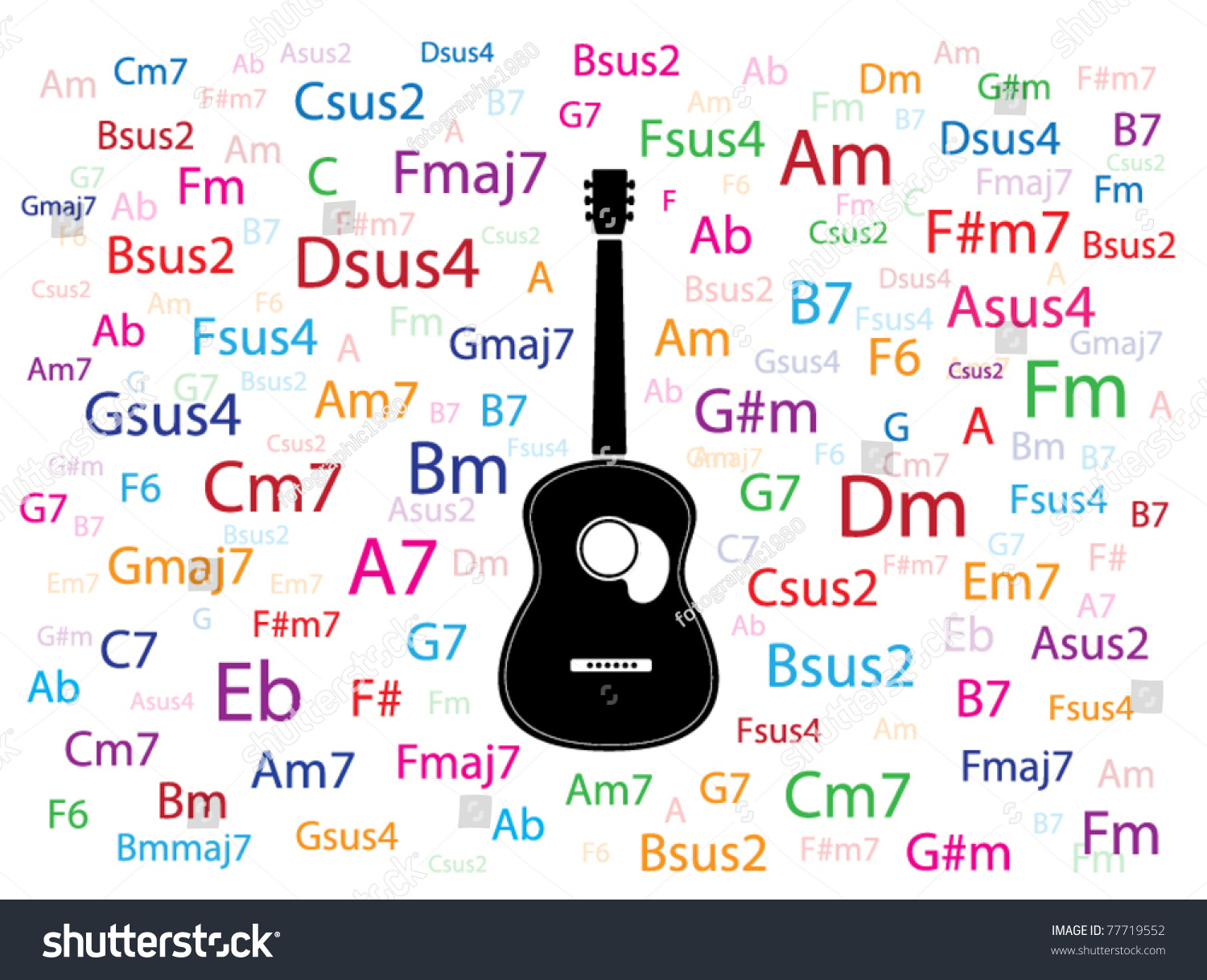 Vector Guitar Colorful Chords Around Stock Vector Royalty Free