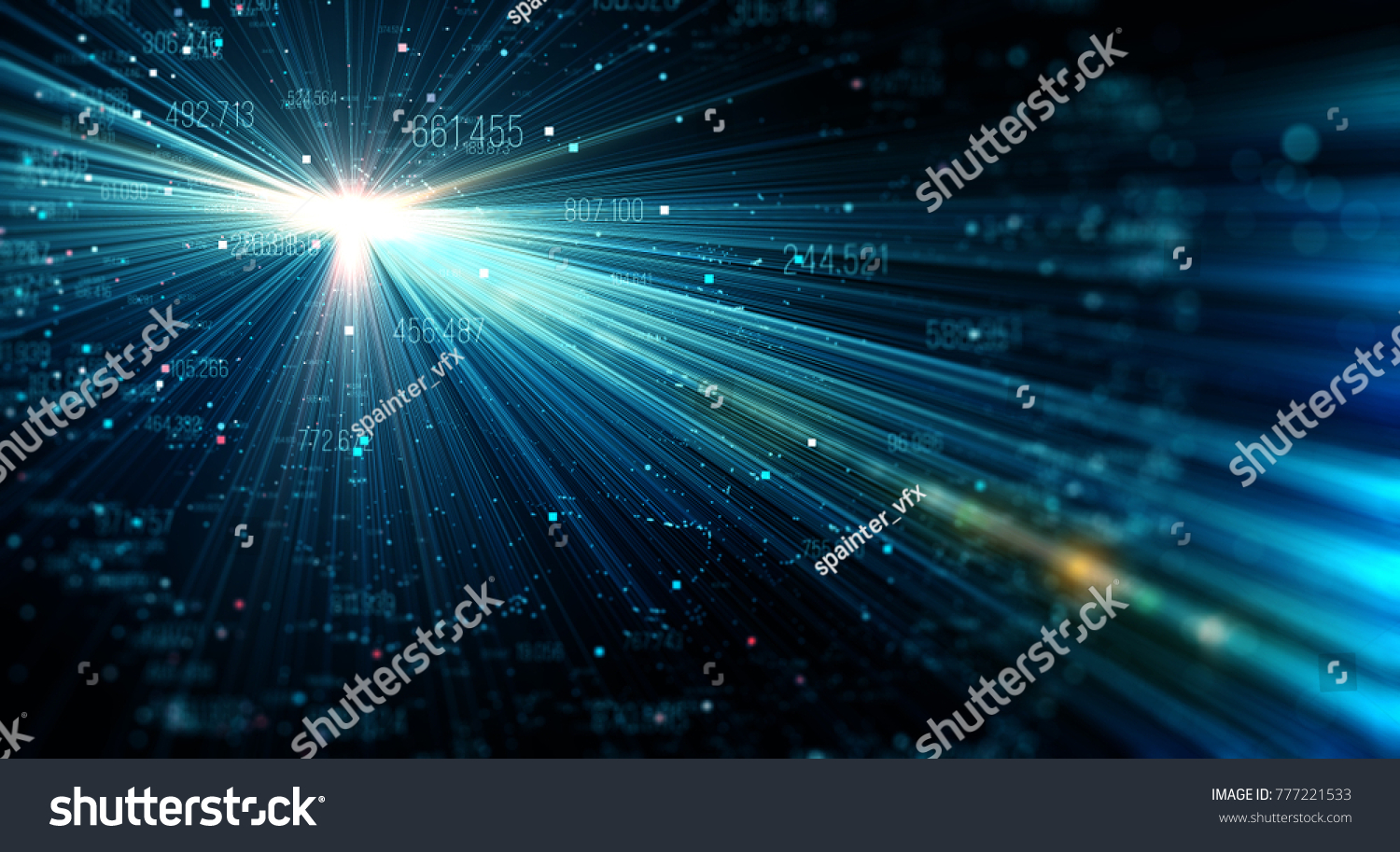 Data Transmission Channel Motion Digital Stock Illustration Circuit Board And Binary Code Vector Clipart Of Flow Transferring Big 3d