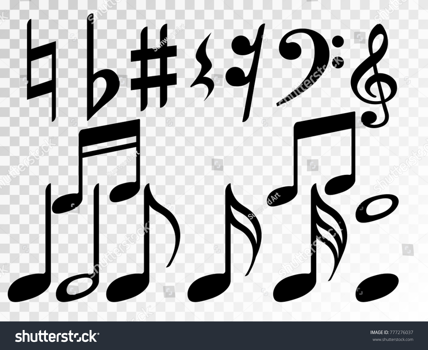 Music note icons vector set black stock vector 777276037 music note icons vector set black symphony or melody signs isolated on transparent background biocorpaavc Images