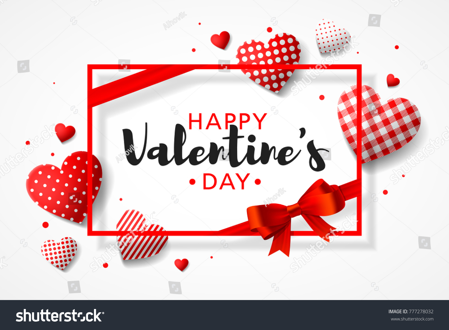 Happy valentines day greeting card design stock vector 777278032 happy valentines day greeting card design with frame gift bow and different patterns hearts kristyandbryce Image collections