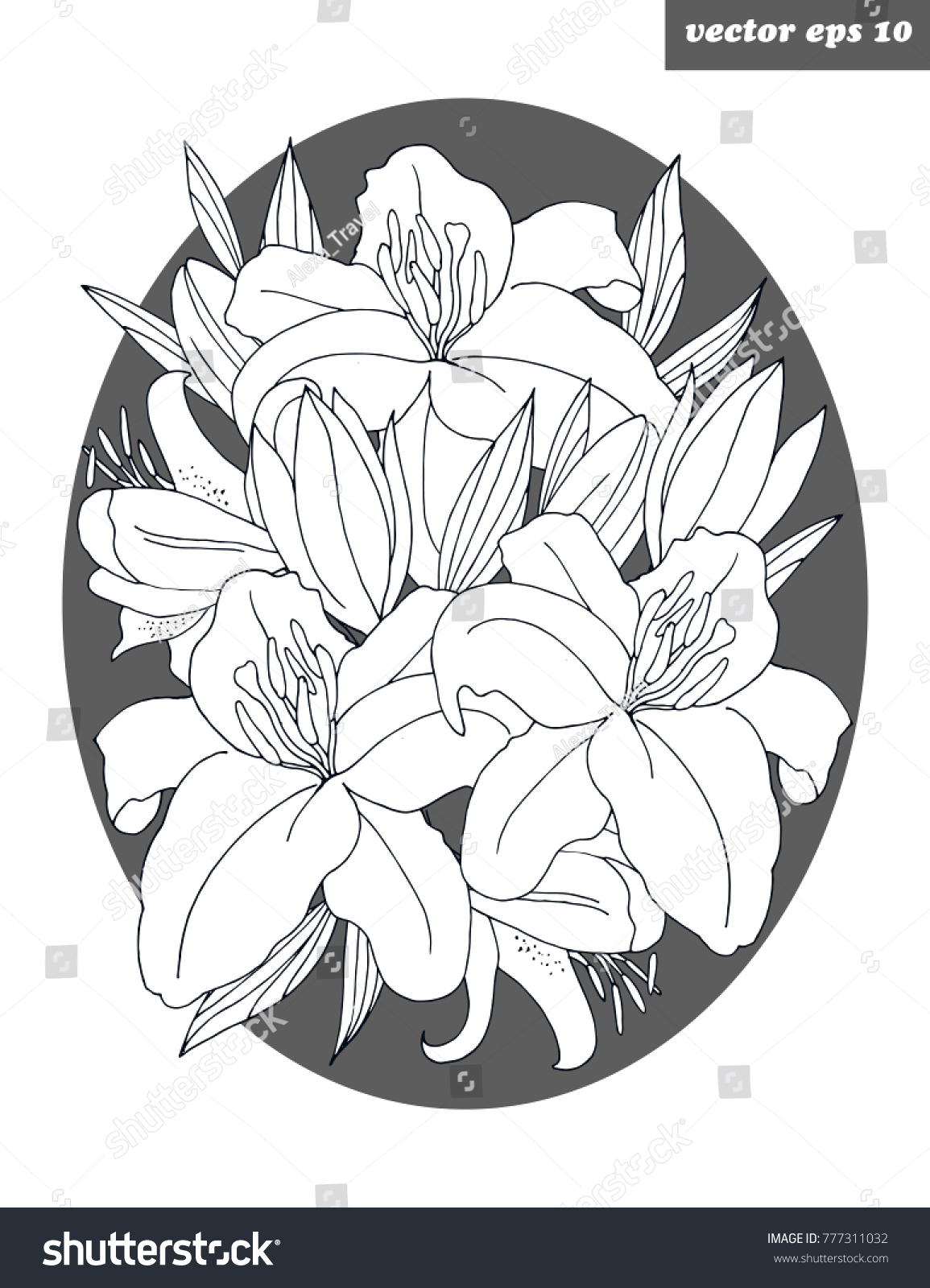 Lily Flower Poster Logo Simple Background Stock Vector Royalty Free