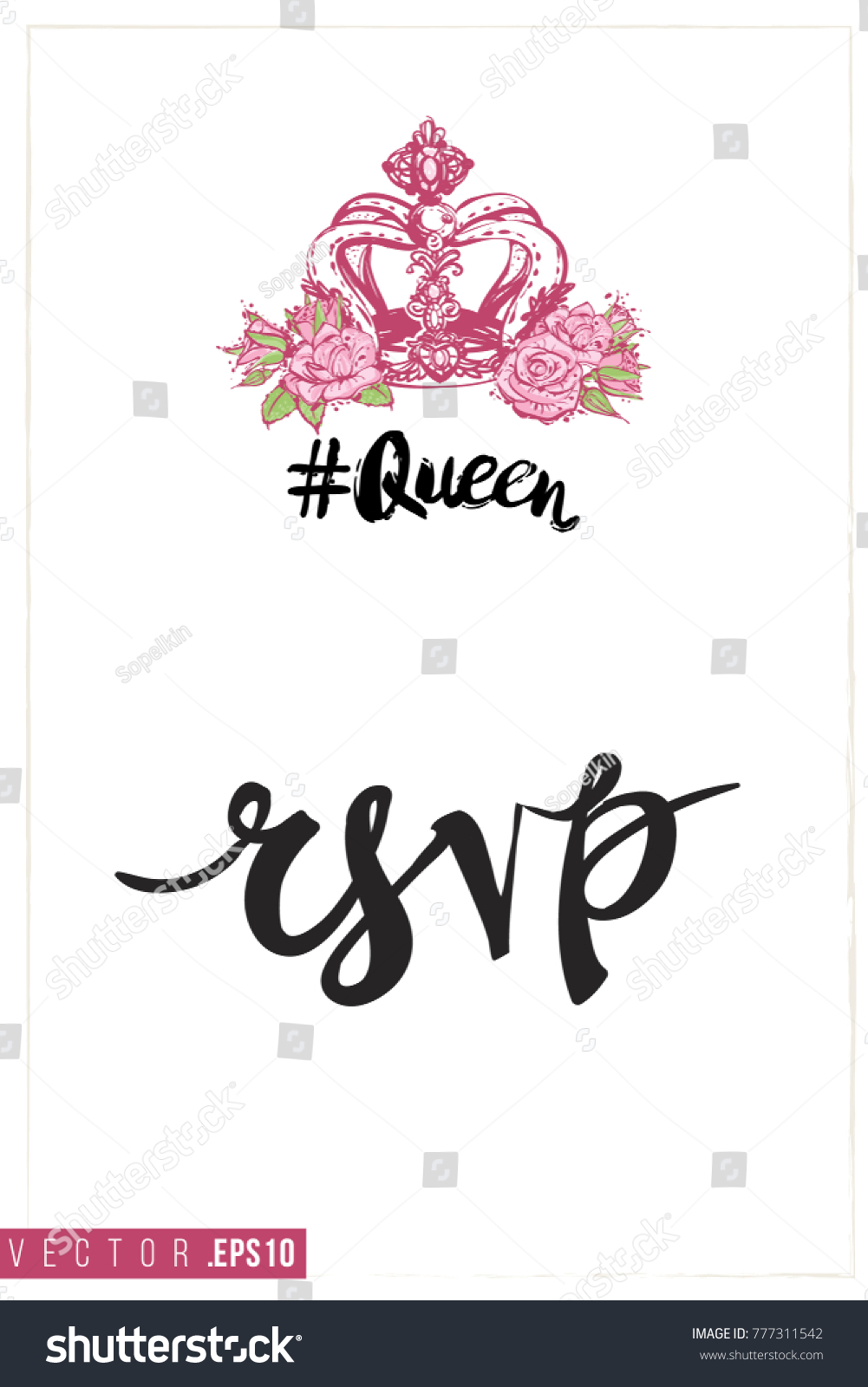 Bridal Greeting Card Queen Crown Text Stock Vector 777311542