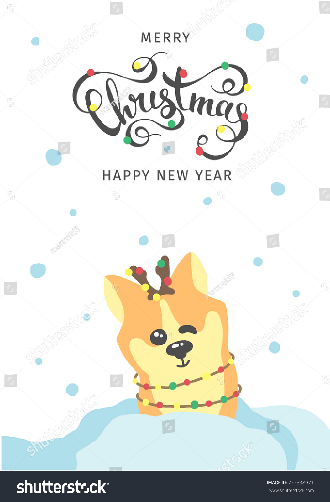 happy new year flyer wish you merry christmas hand drawn stock vector 777338971