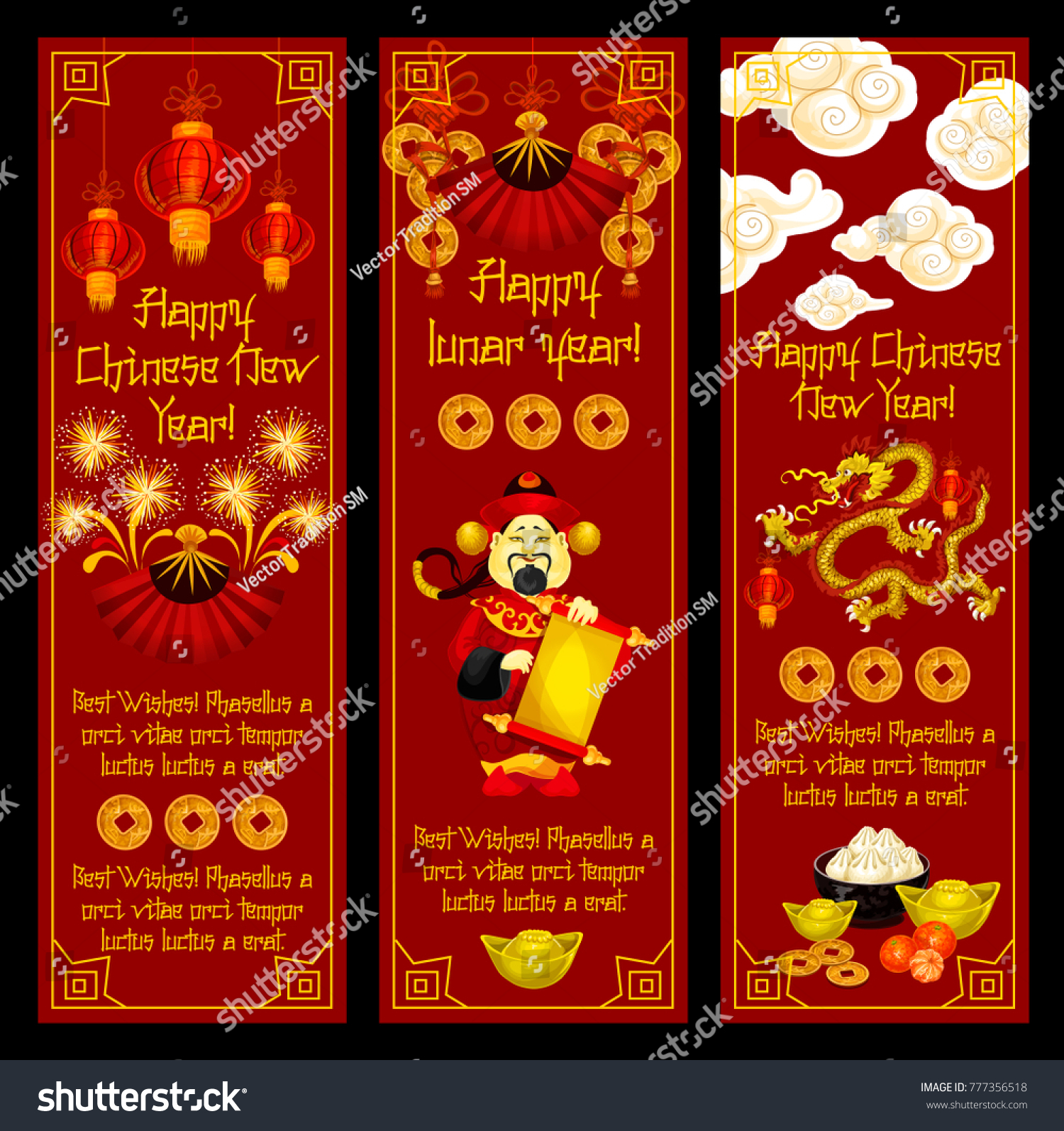 happy chinese lunar new year greeting banners of traditional chinese symbols and decorations vector golden