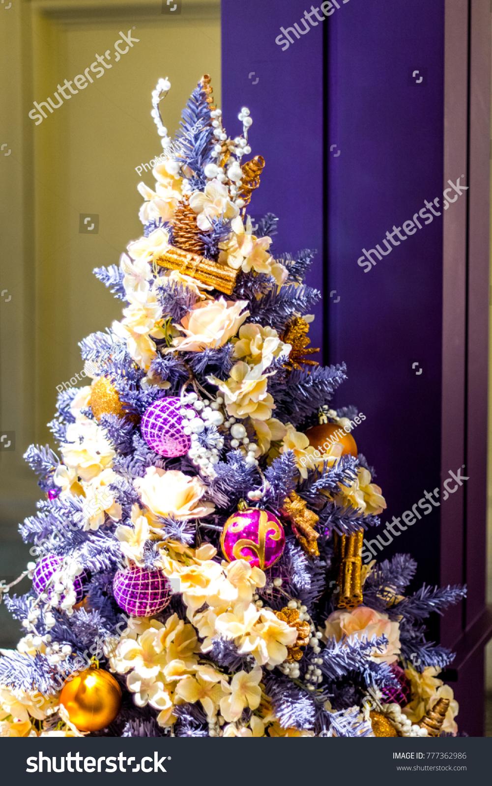Christmas Tree Yellow Purple Blue Stock Photo Edit Now 777362986