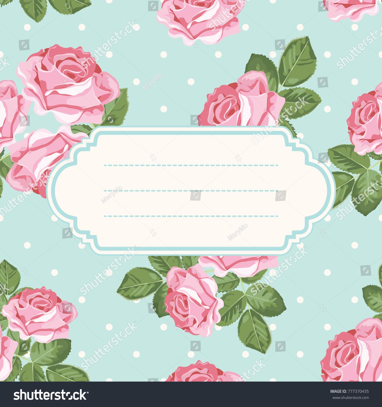 Shabby Chic Rose Polka Dot Light Stock Vector 777370435 - Shutterstock