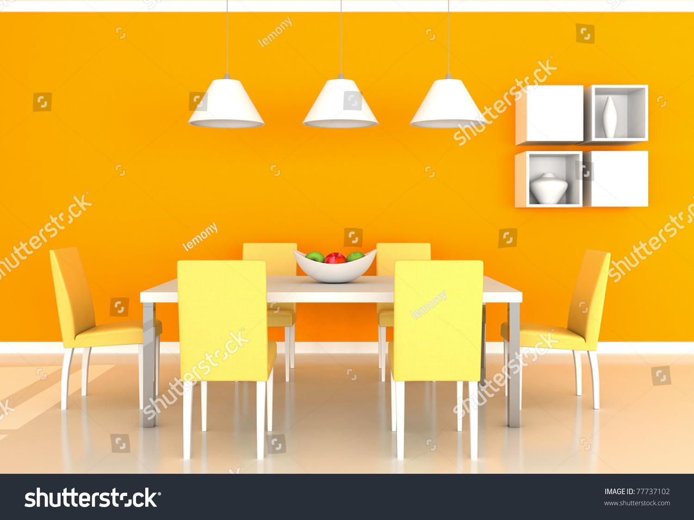 orange modern dining room stock photo 77737102 : shutterstock