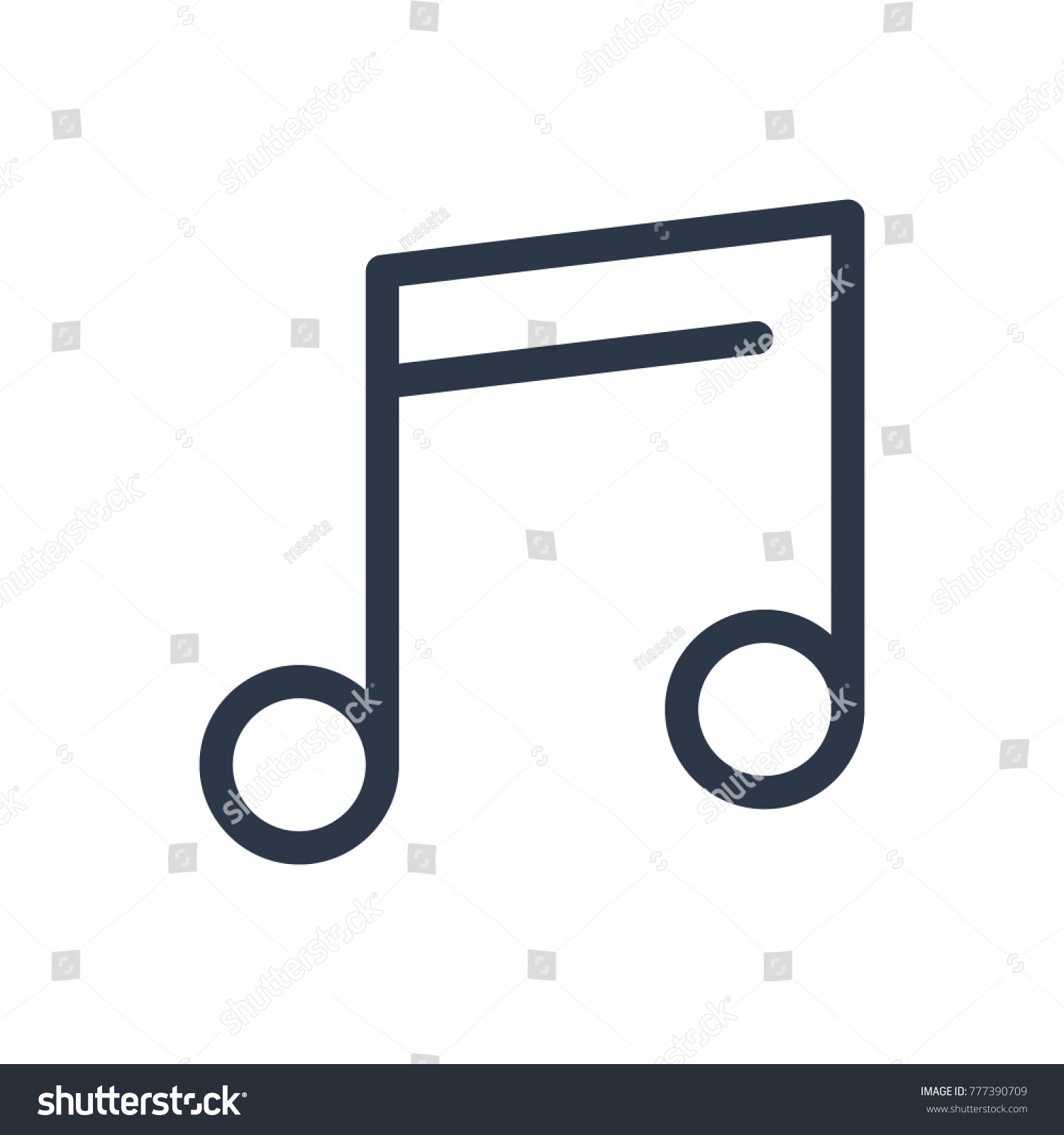 Music Note Icon Isolated Quaver Music Stock Vector Royalty Free