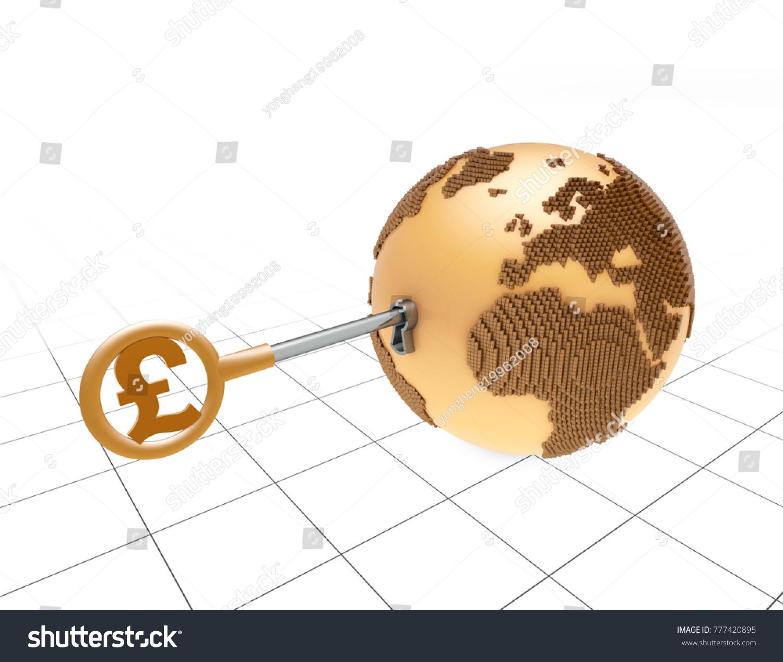 3 D Illustration Global Finance Currency Symbols Earth Stock