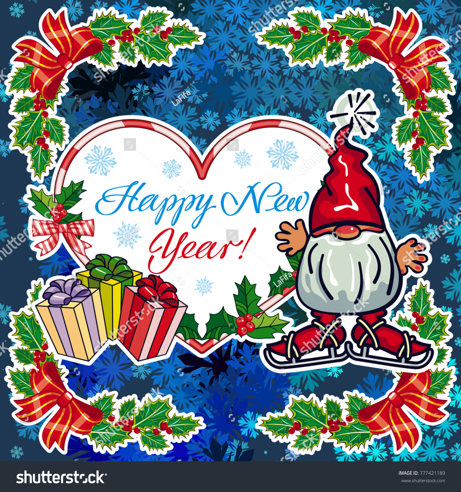 square holiday card with funny gnomes and greeting text happy new year vector