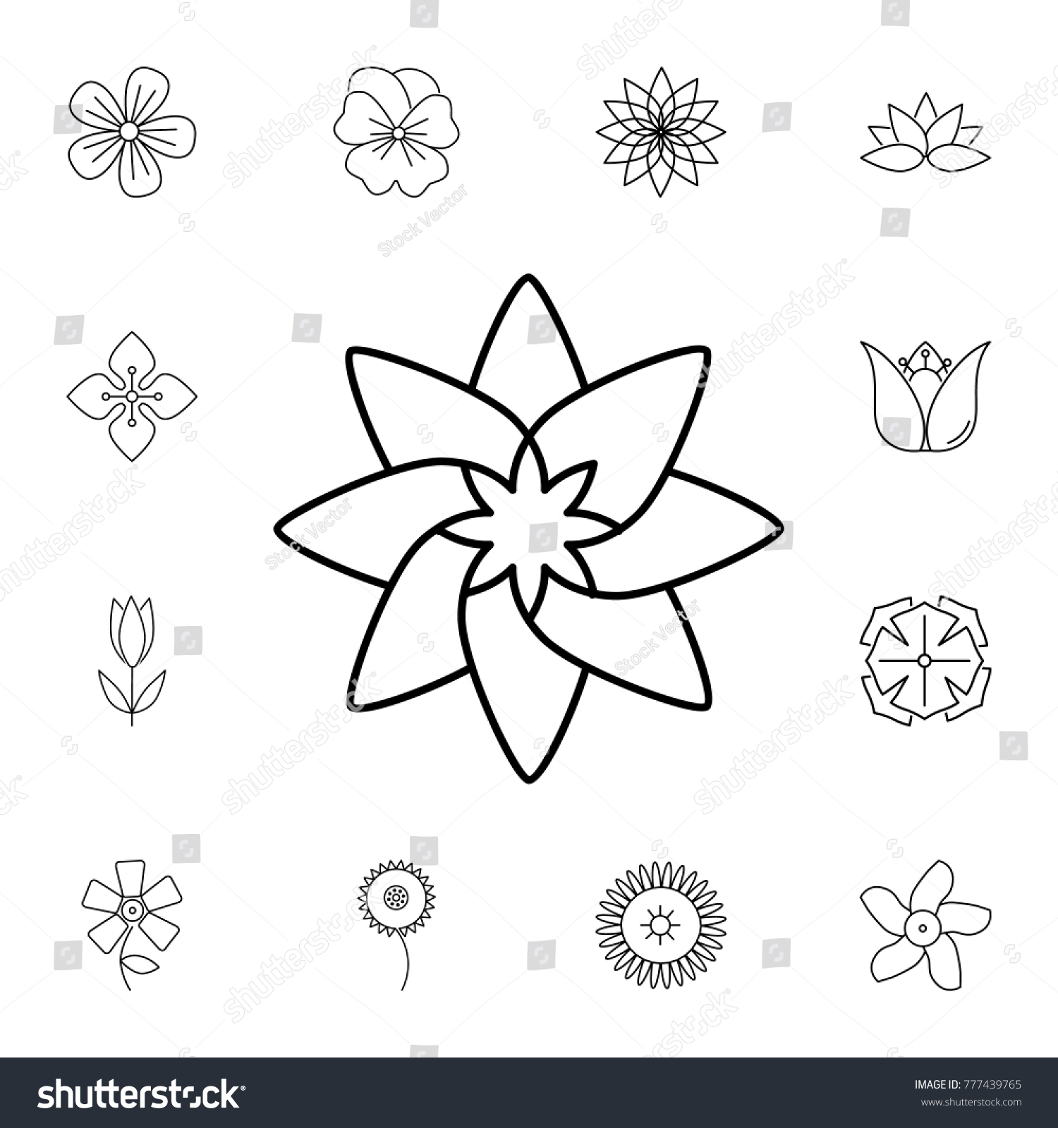 Abstract Type Flowers Line Icon Set Stock Vector 777439765