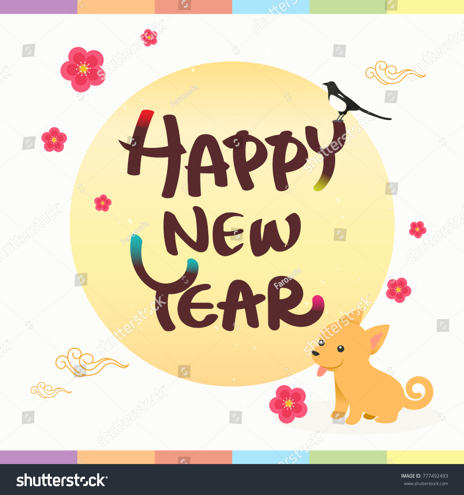 Happy new year greeting card vector stock vector 777492493 happy new year greeting card vector illustration seollal korean lunar new year with kristyandbryce Images