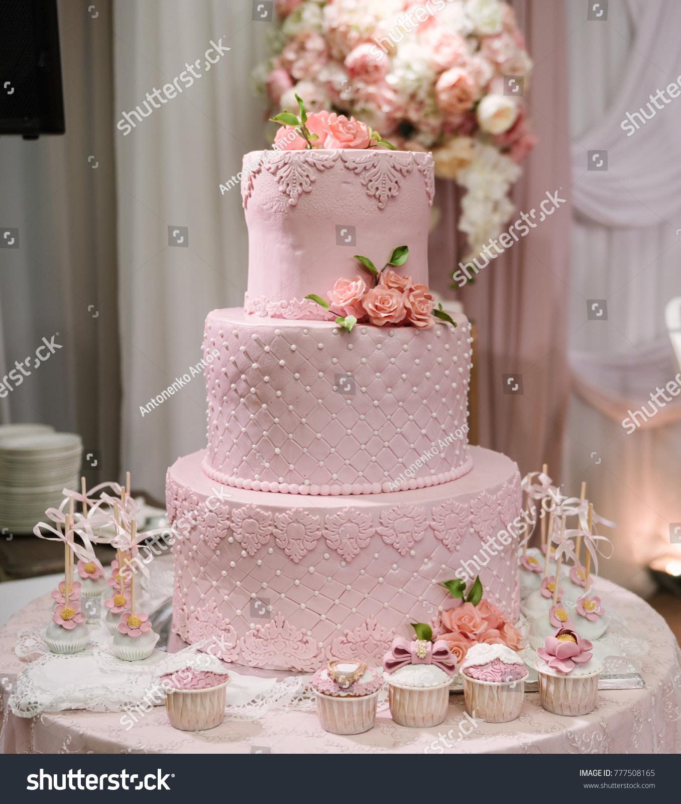 Large Pink Wedding Cake Flowers Made Stock Photo Edit Now