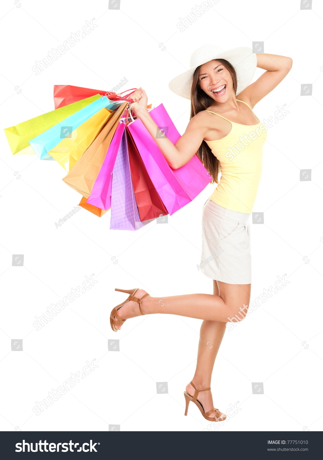 Woman posing with shopping bags isolated on white background full - Asian Shopping Woman Happy Smiling Holding Many Shopping Bags Asian Shopper Girl Isolated On White