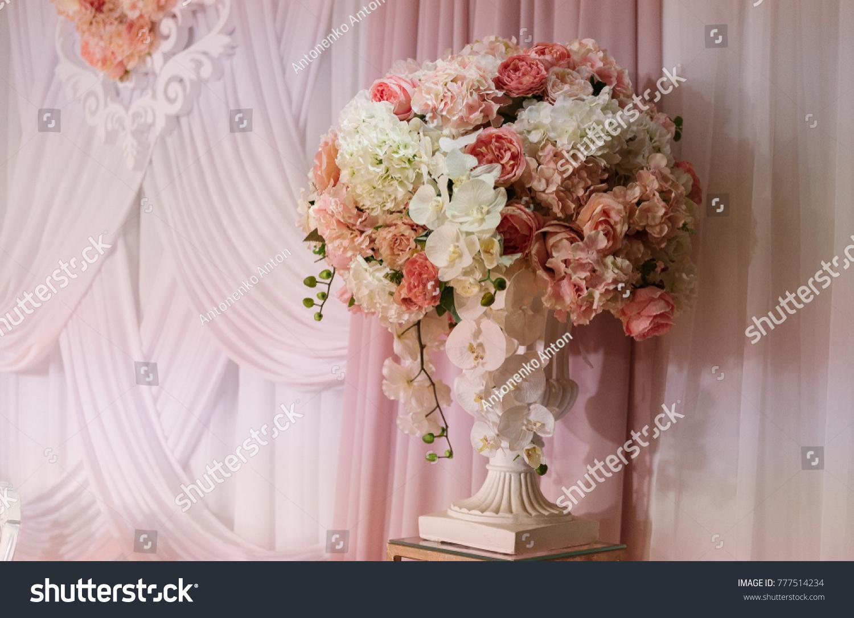 Wedding Decorations Vase Multicolored White Pink Stock Photo Edit
