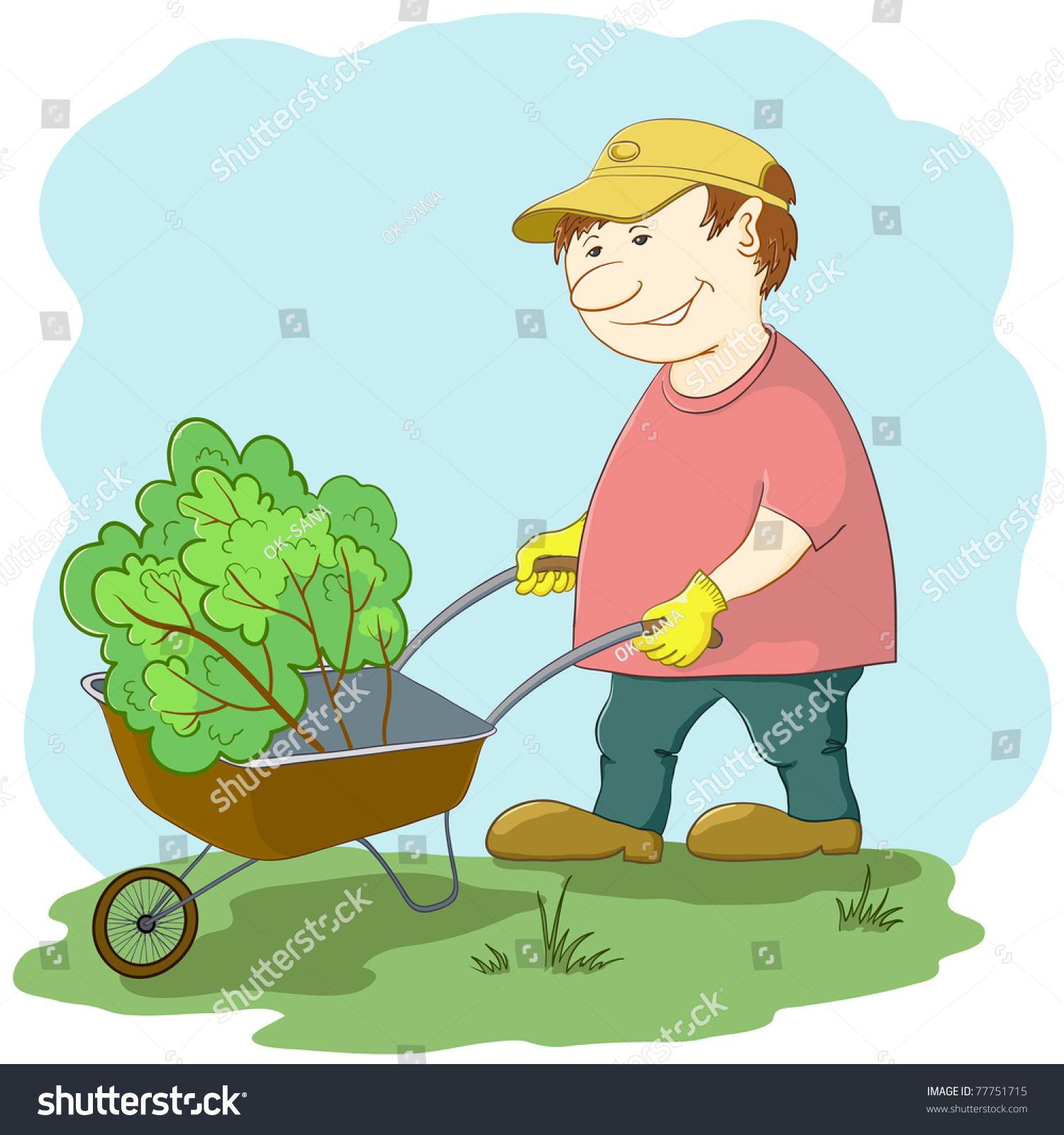 stock vector man gardener works in a garden rolls a wheelbarrow with a plant
