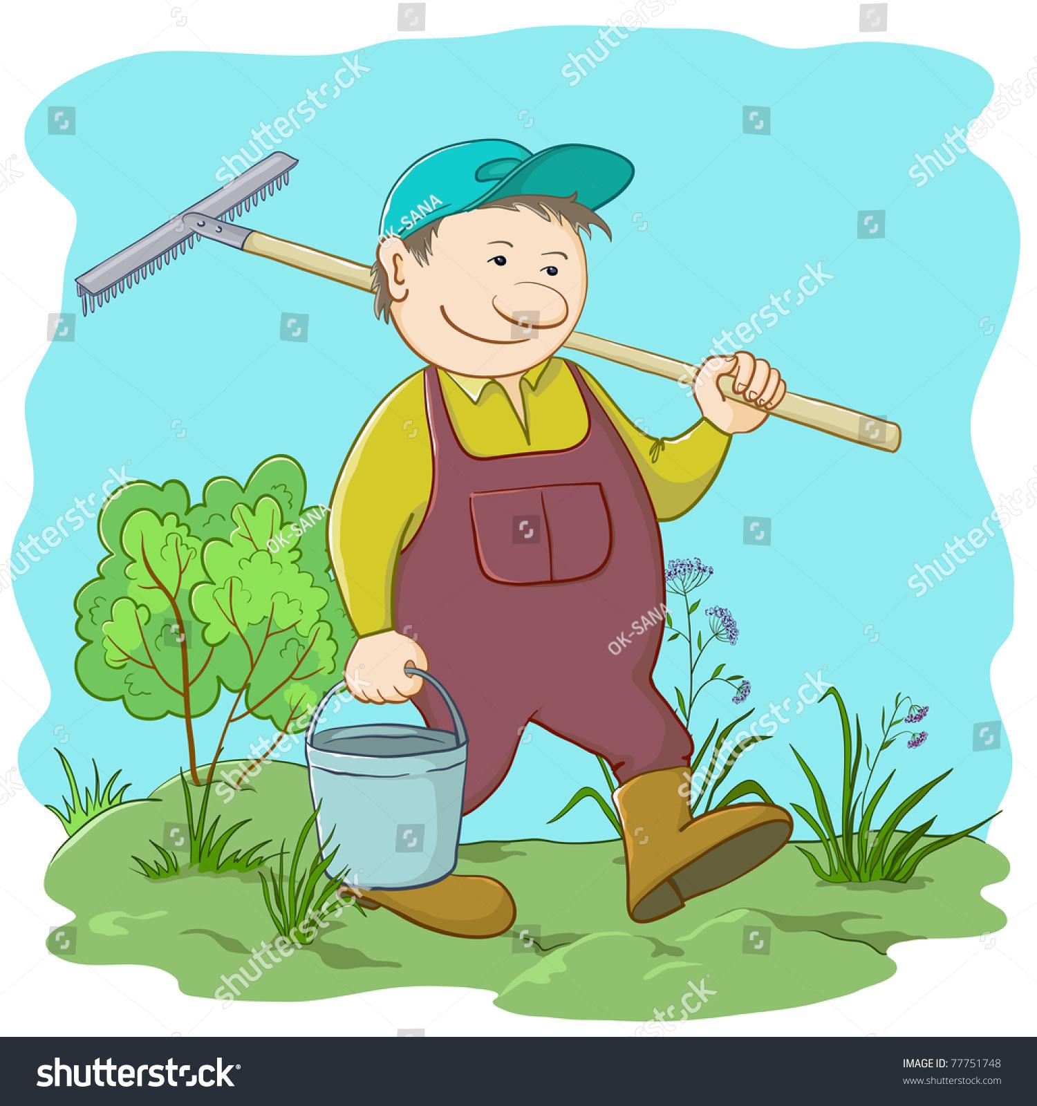 stock vector vector man gardener with a bucket and a rake work in a garden