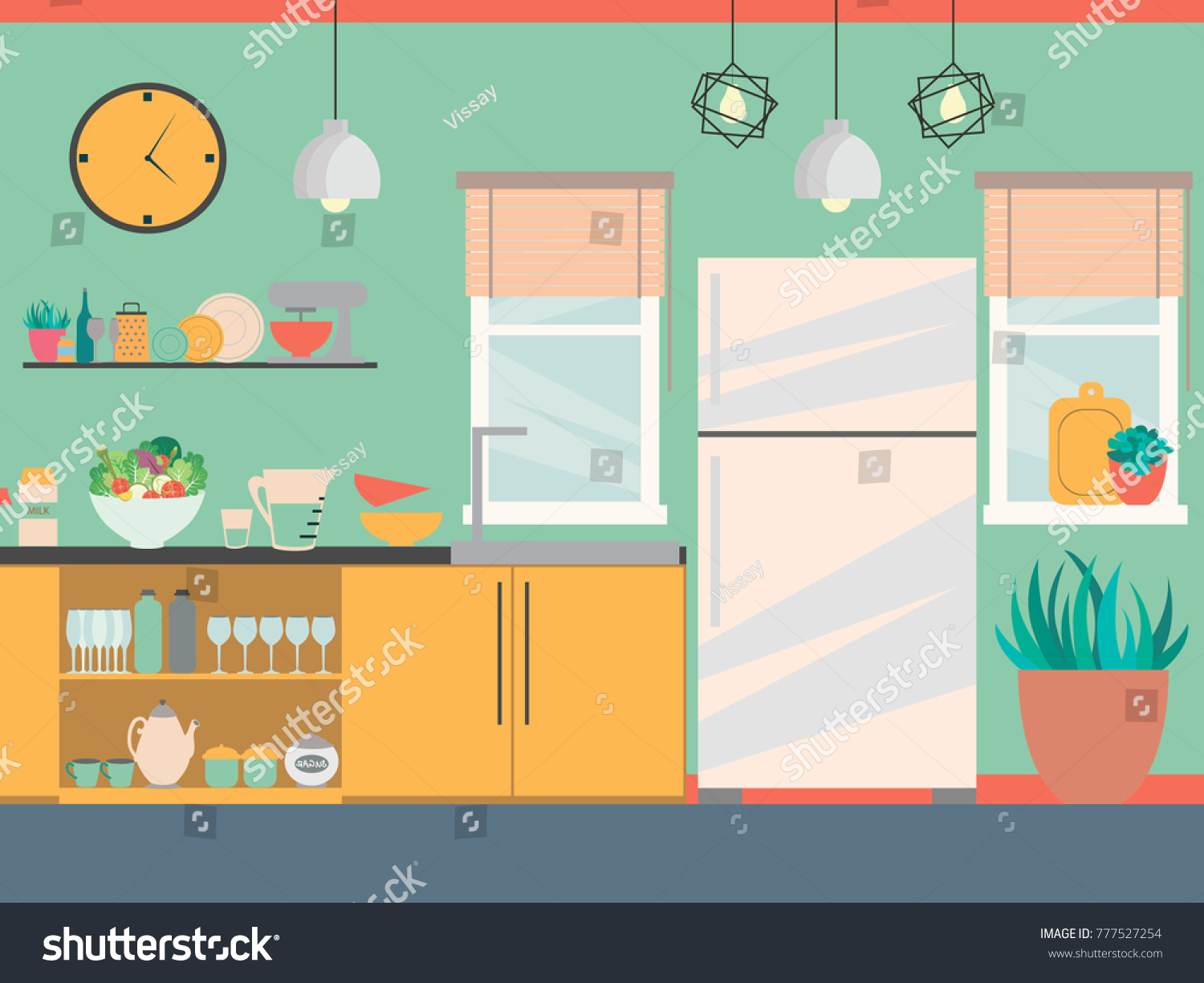 Modern Kitchen Interior Furniture Cooking Devices Stock Vector ...