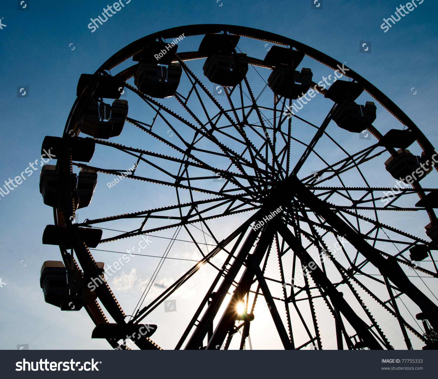 Silhouette Of Ferris Wheel At Sunset At County Fair. Stock ...
