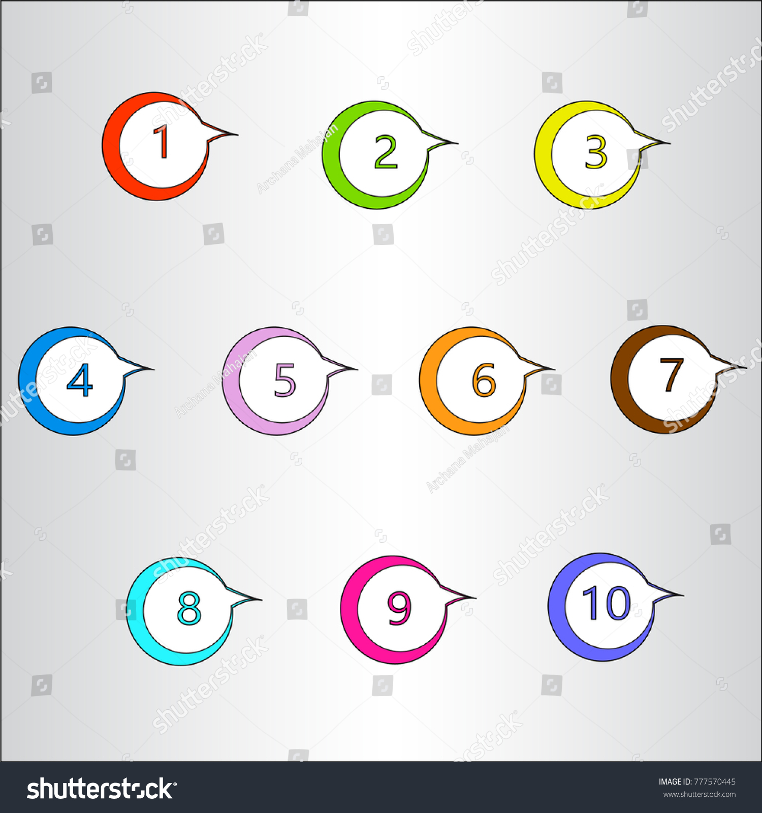 Number Bullet Point Markers 1 10 Stock Vector Royalty Free