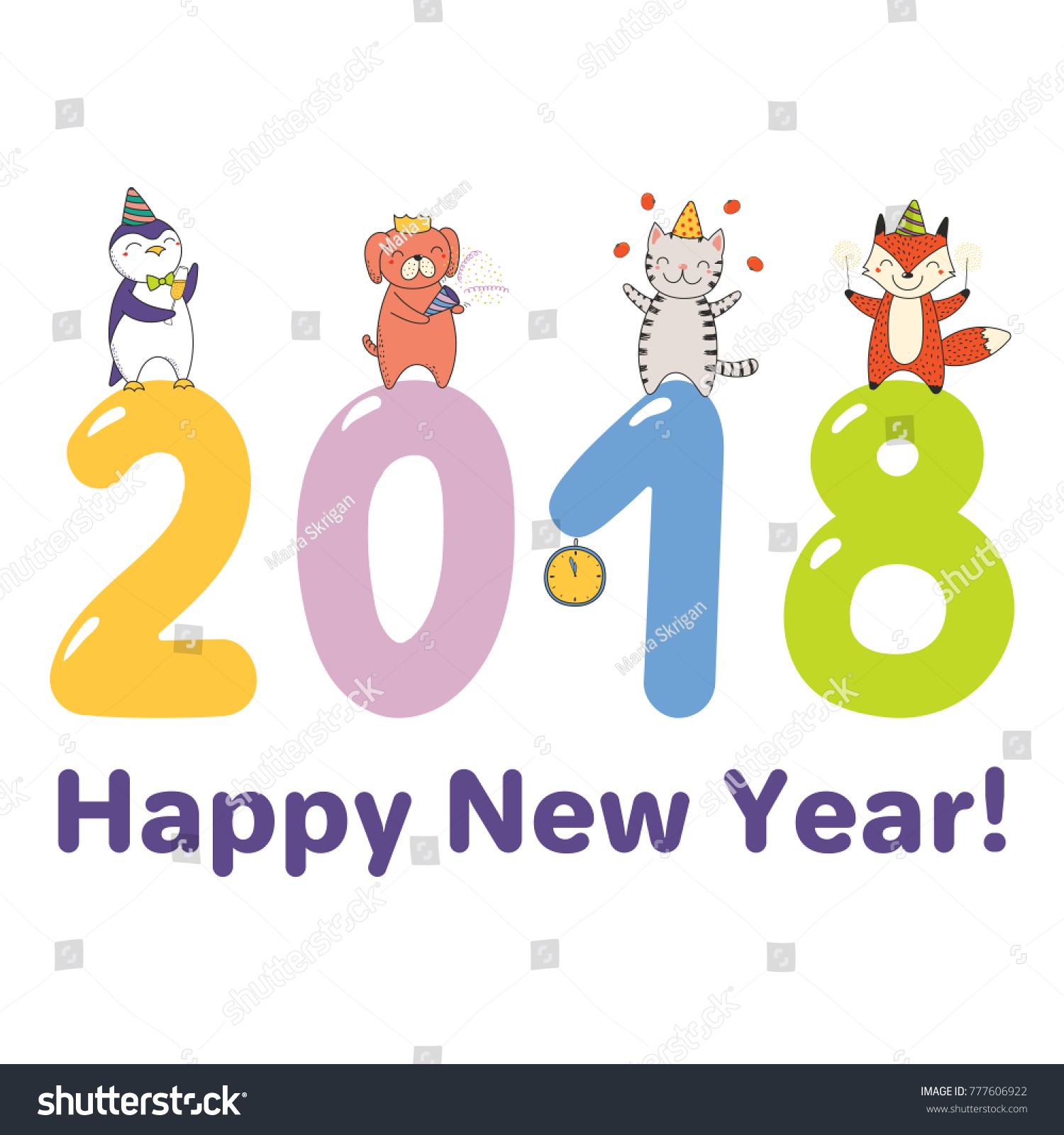 Hand Drawn Happy New Year 2018 Stock Vector (Royalty Free) 777606922 ...