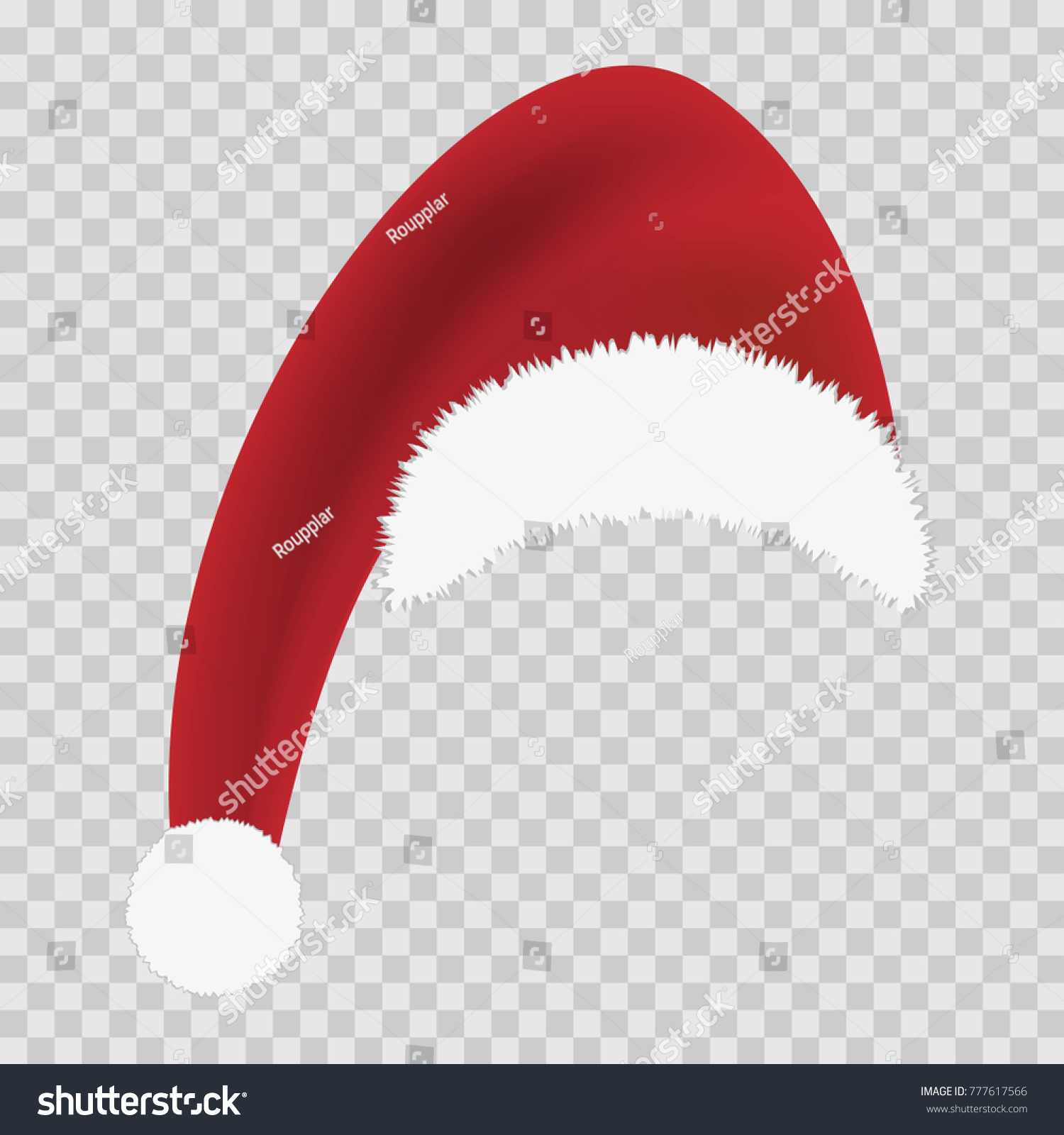 Red Santa Hat On Transparent Background Stock Vector (Royalty Free ...