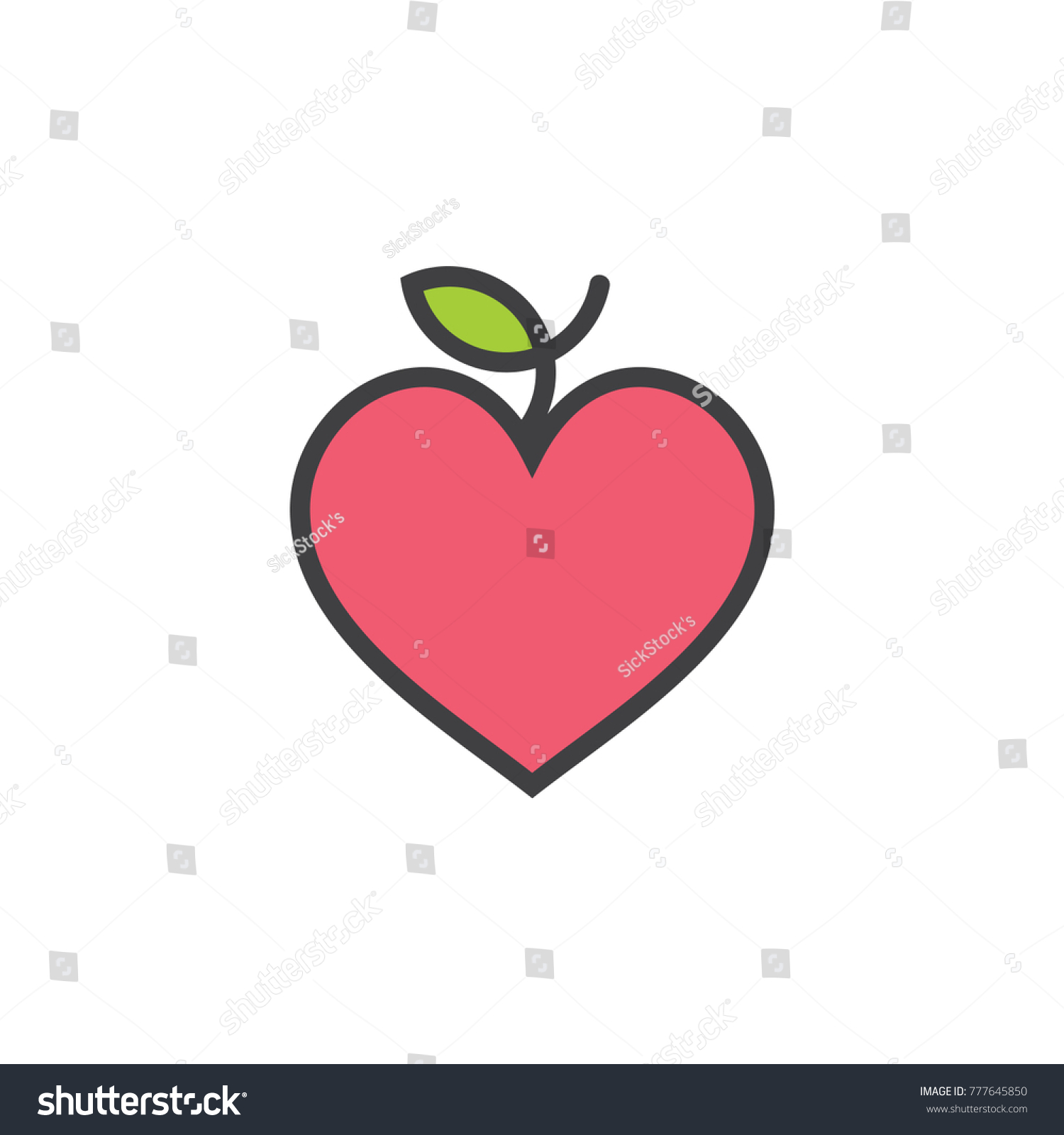 Love heart apple fruit symbol logo stock vector 777645850 love heart apple fruit symbol logo biocorpaavc