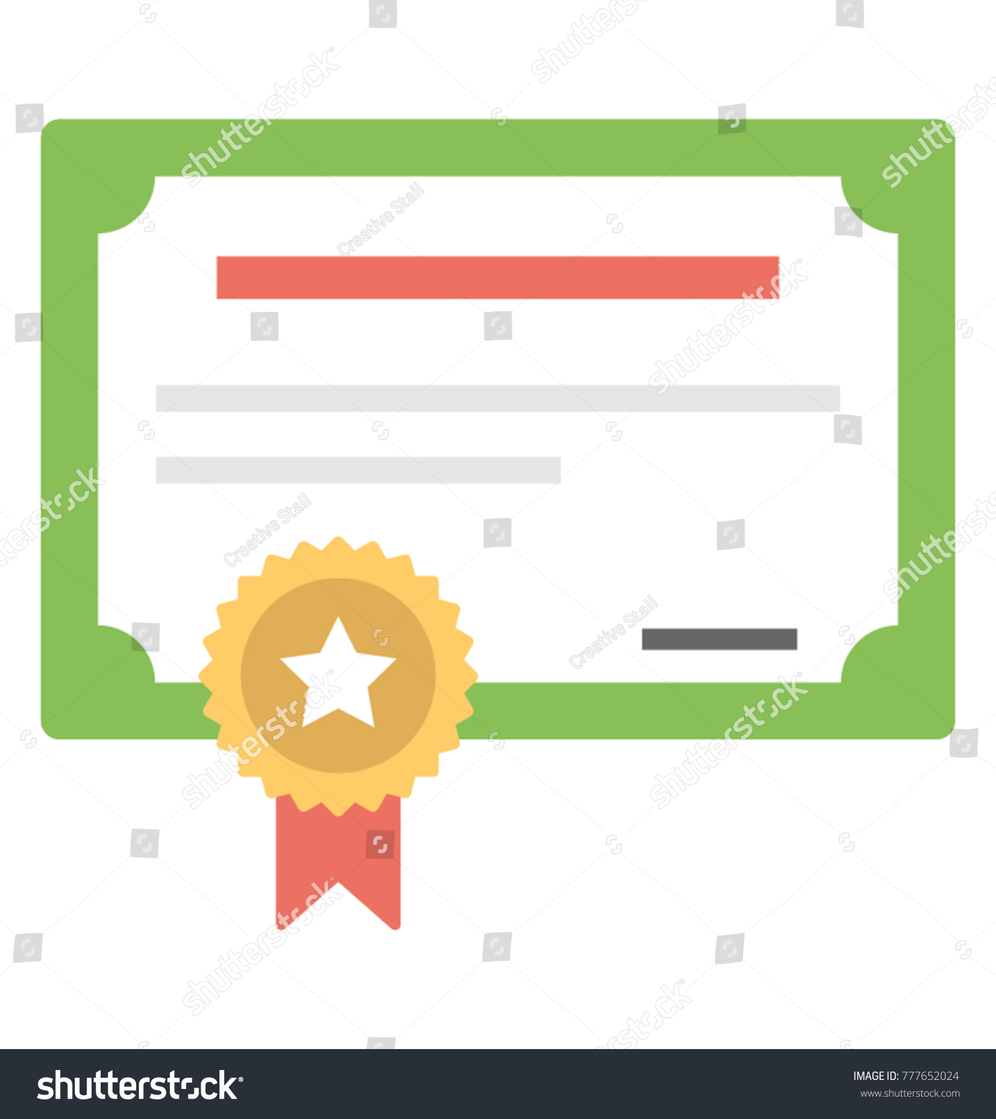 certificate acknowledgment flat vector icon award stock vector rh shutterstock com vector certificate border vector certificate template free download