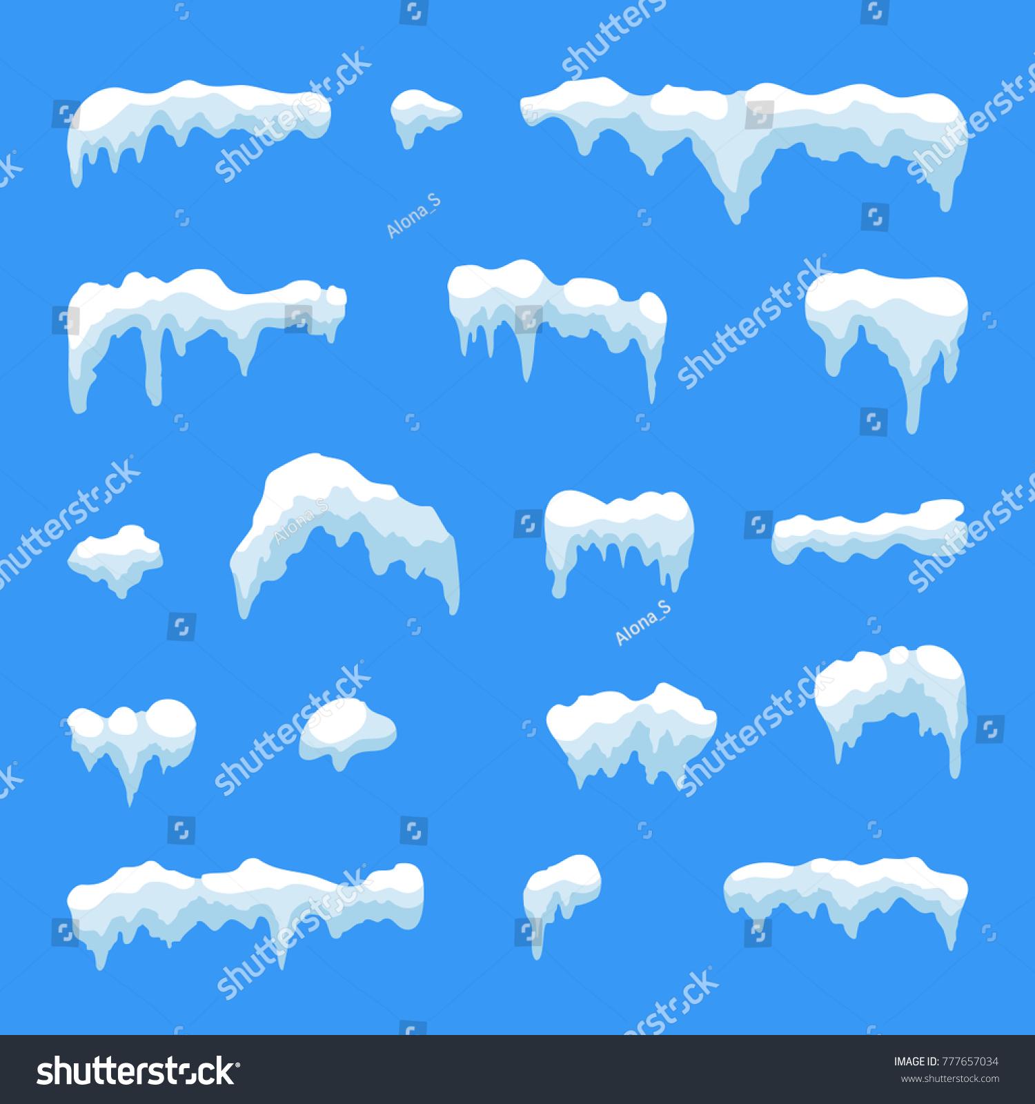 snow ice icicle set winter design stock illustration 777657034