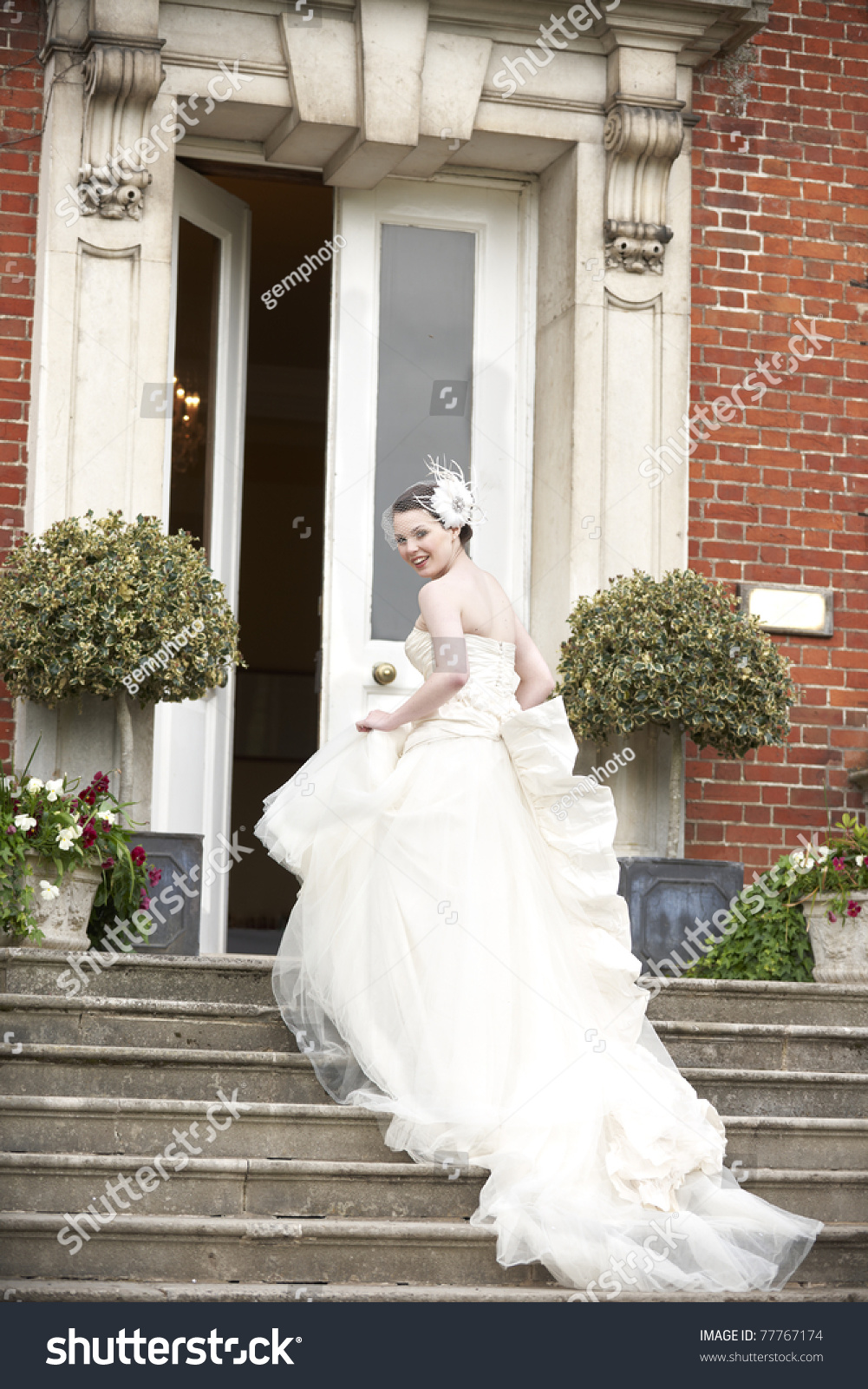 Pretty Bride Walking Steps Her Wedding Stock Photo (Royalty Free ...