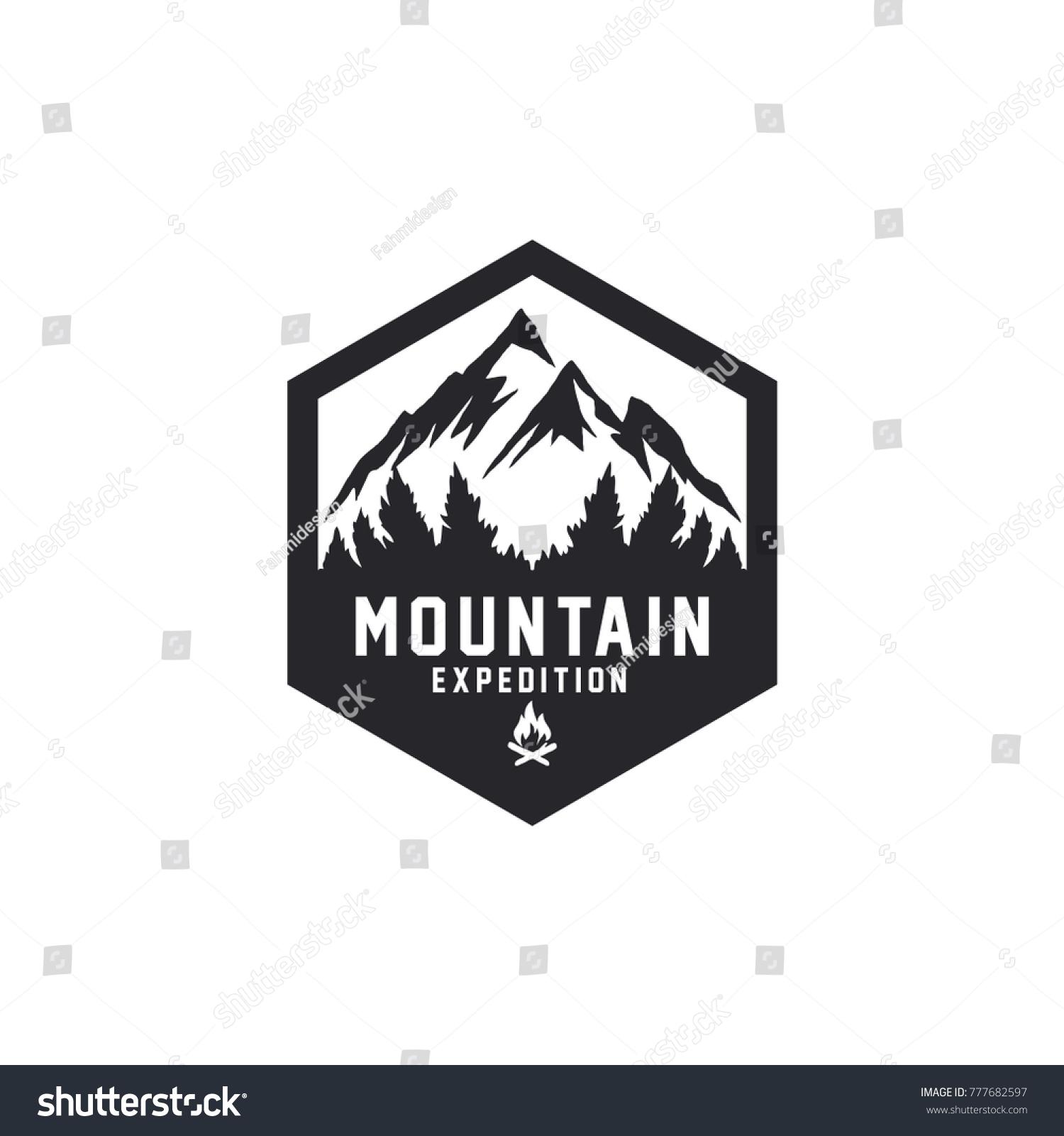 Vintage Mountain Logo Template Vector Illustrator Stock Vector ...