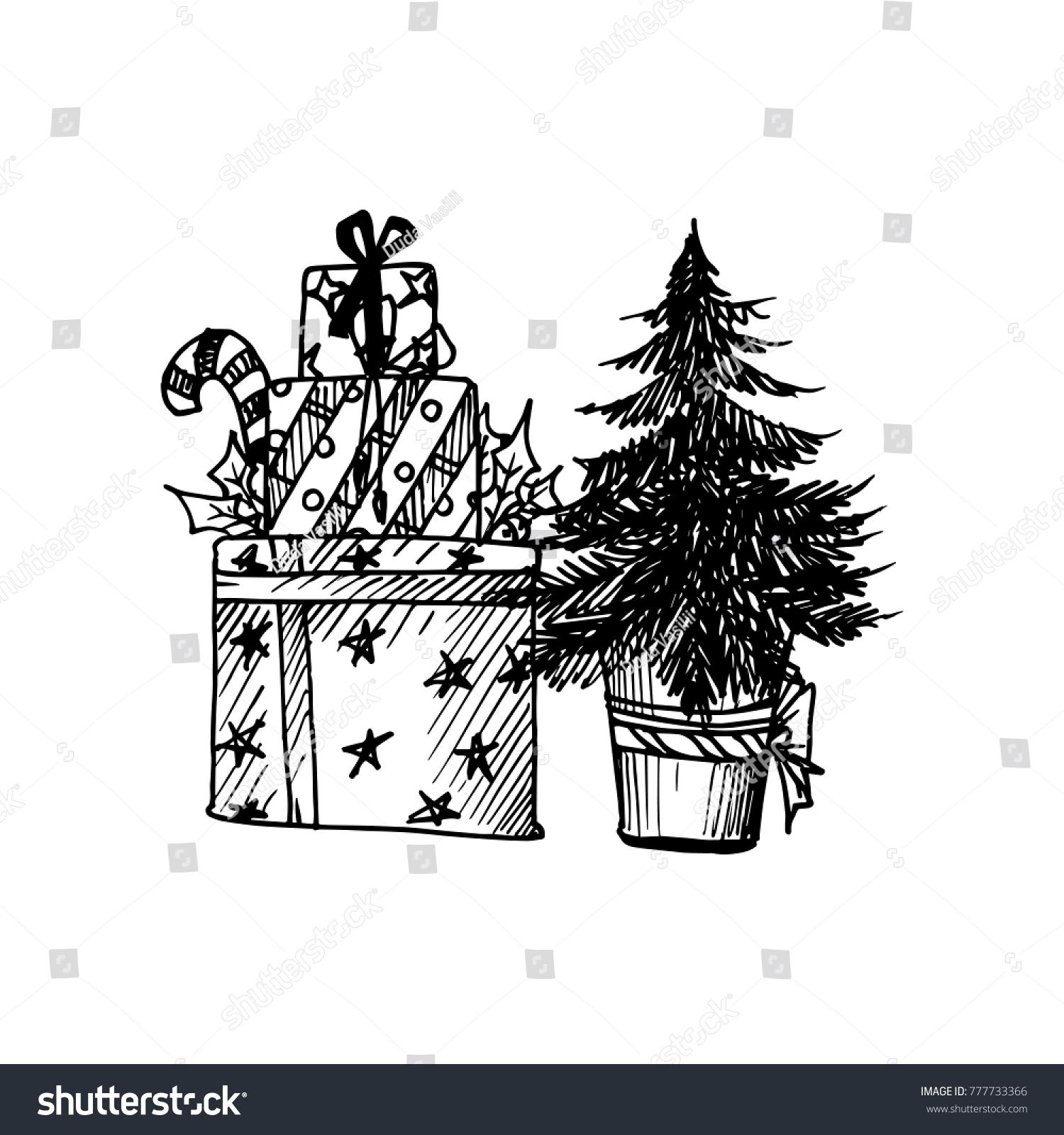 Black Mono Color Illustration Merry Christmas Stock Vector Royalty