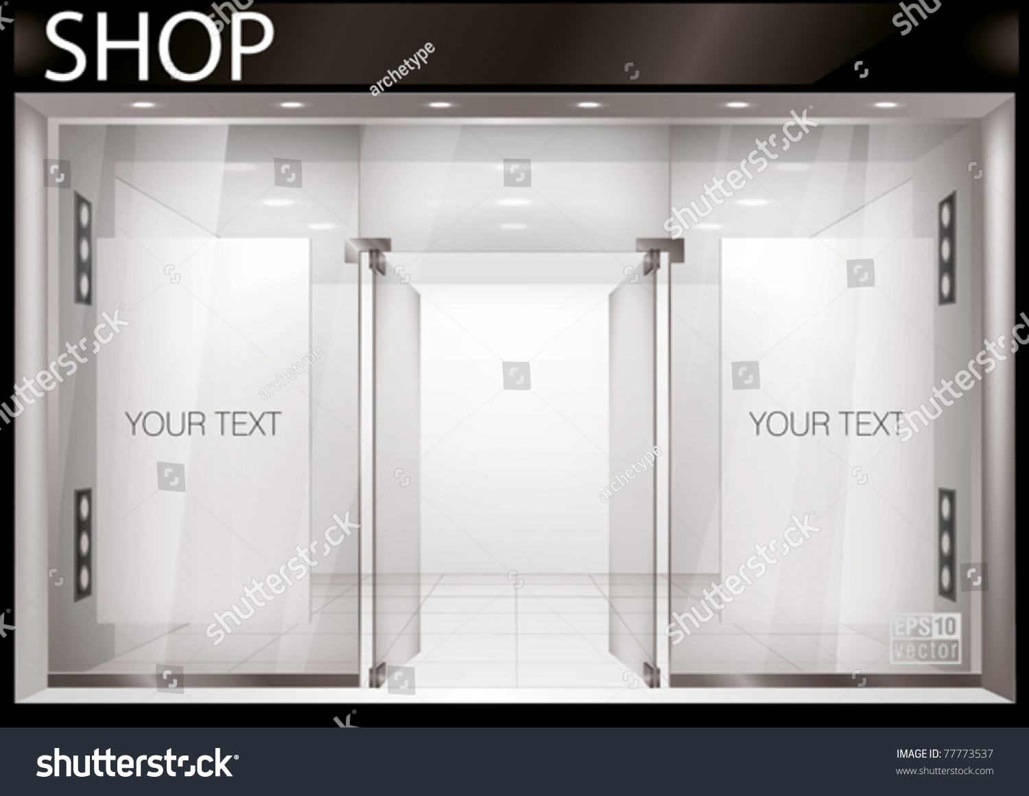 Shop front exterior horizontal windows empty stock vector for Picture window design layout