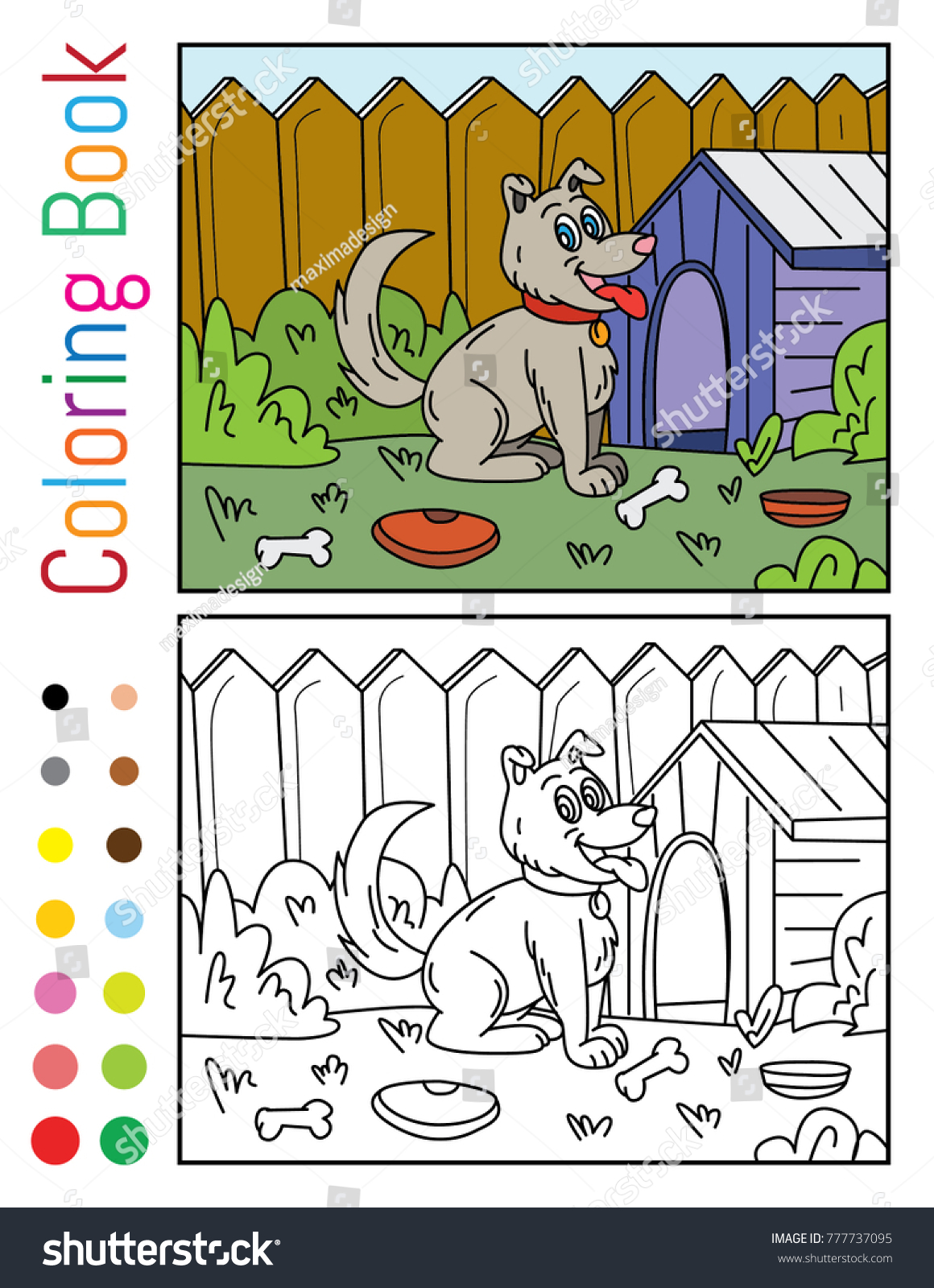 Cute Dog House Yard Coloring Book Stock Vector (Royalty Free ...