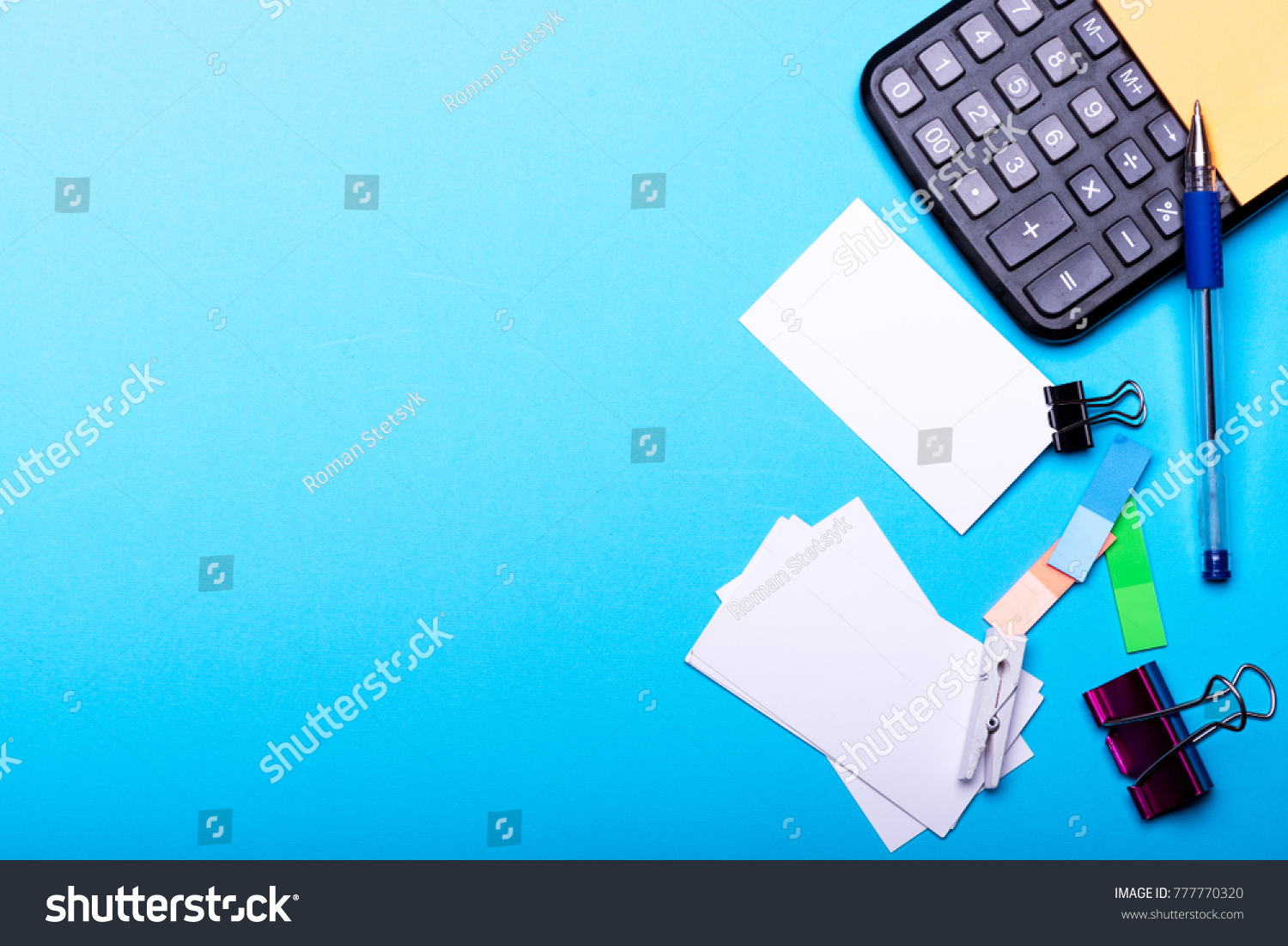 idea office supplies. Office Supplies And Business Idea Concept. Card With Empty Space Binders Near Sticky A