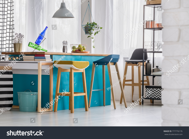 Designer Bar Stools Blue Kitchen Island Stock Photo (Royalty Free ...