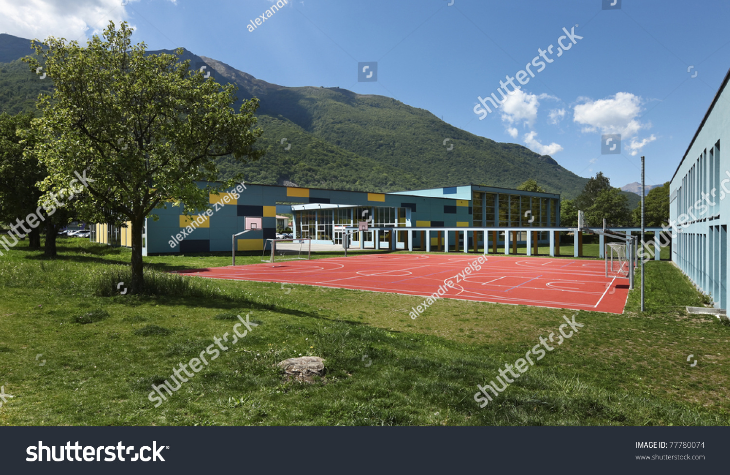 Public School Building From The Outside Playground Stock Photo 77780074 Shutterstock