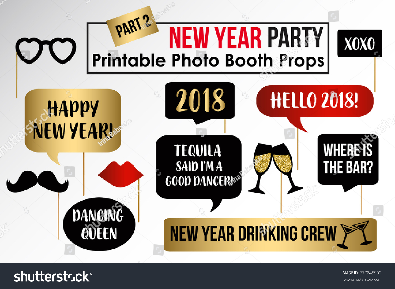 new year party 2018 photo booth props fun party printable masks moustache hat