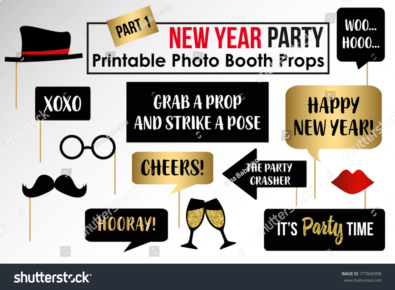 new year party photo booth props fun party printable masks moustach hat