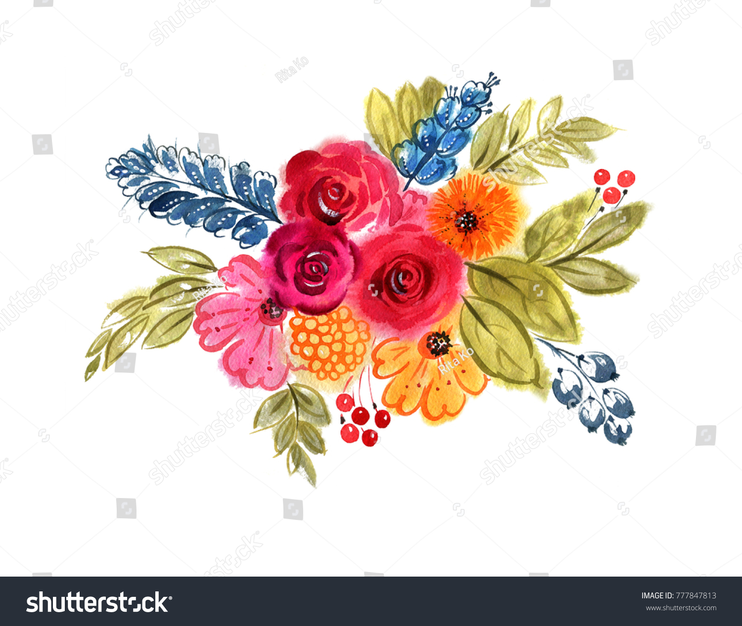 Beautiful Bright Bouquet Different Flowers Herbs Stock Illustration ...