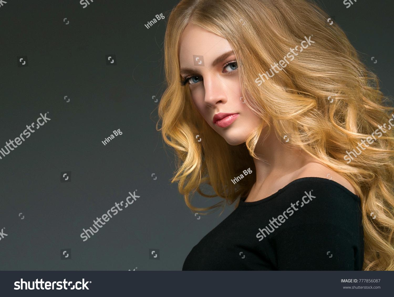 Long Curly Hair Blonde Woman Skin Care Beautiful Portrait Beauty