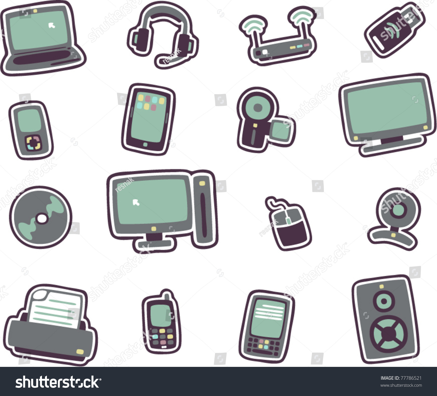 Technology Management Image: Vector Cartoon Technology Icons 1 Stock Vector 77786521