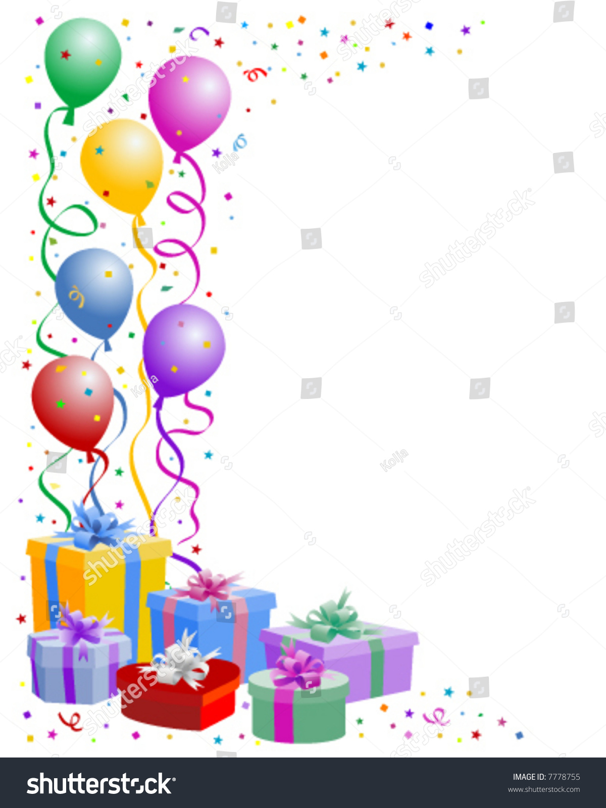 Birthday Balloons With Gifts Boxes