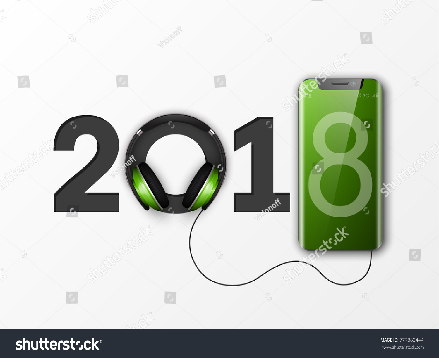 Happy new year 2018 phone headphones stock vector royalty free happy new year 2018 phone headphones smartphone banner greeting card telephone design template 2018 m4hsunfo