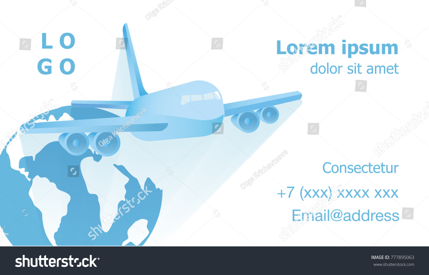 Airplane Flying Vector Against Background Globe Stock Vector ...