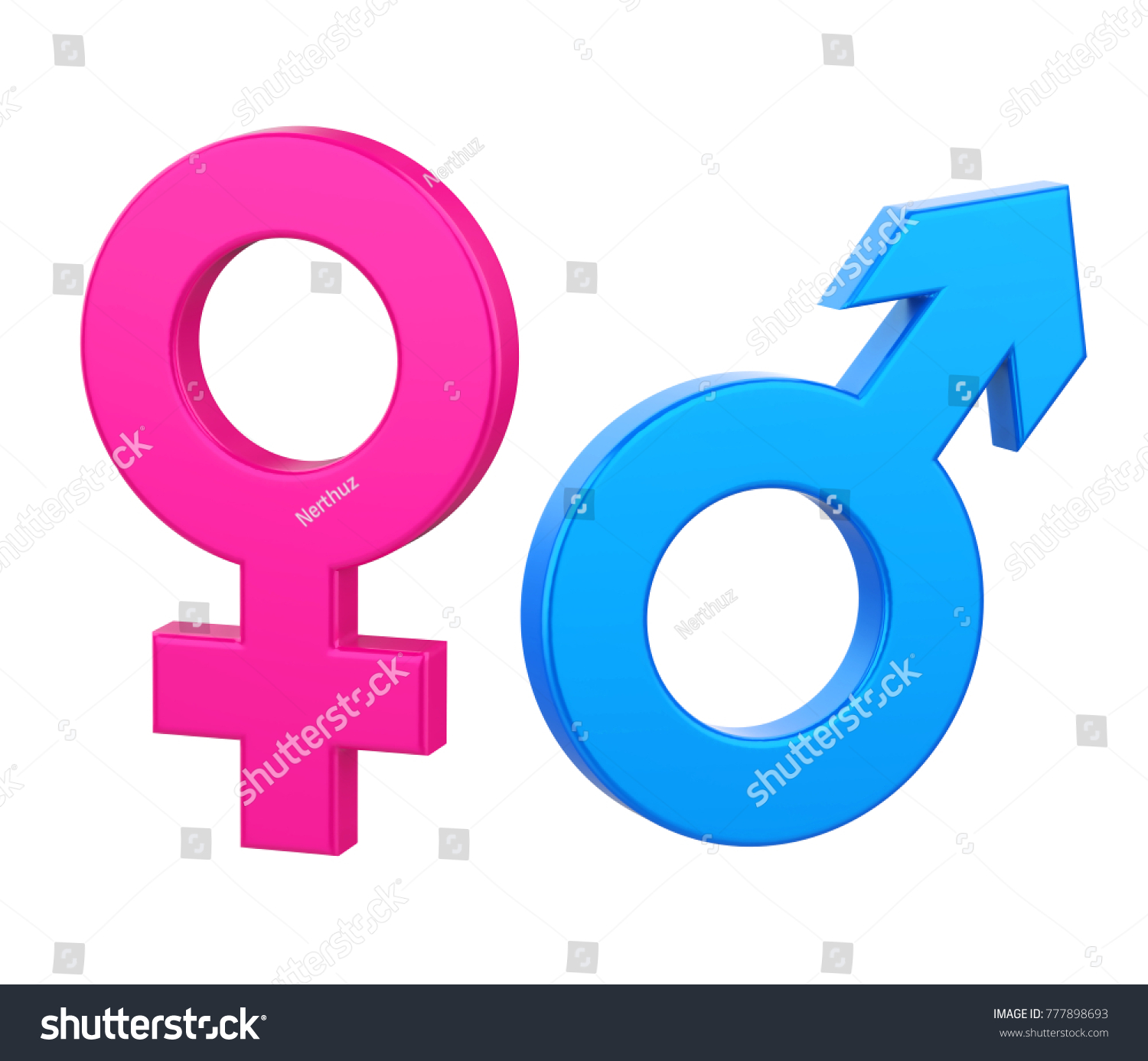 Female Male Gender Symbol Isolated 3d Rendering Ez Canvas