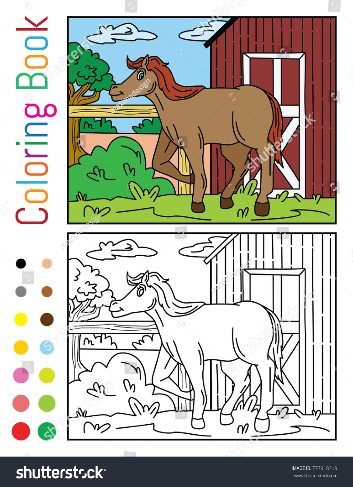 Cute Horse Home Stables Coloring Book Stock Vector 777918319 ...
